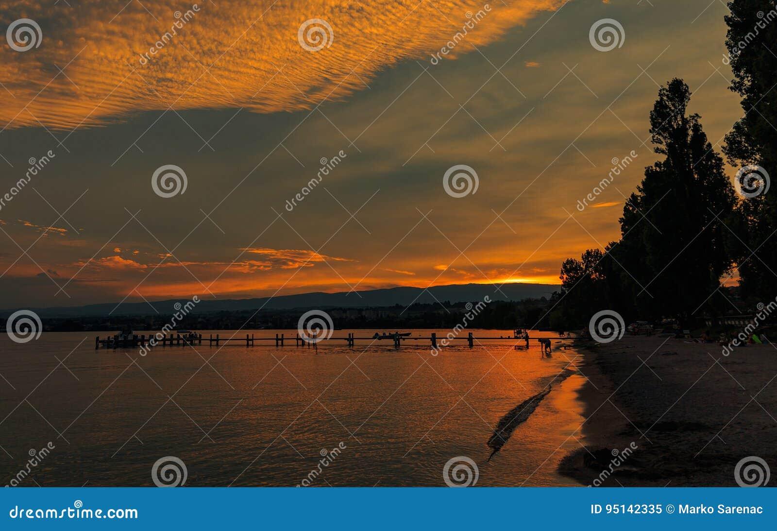 Lake Leman sunset. Lausanne Switzerland