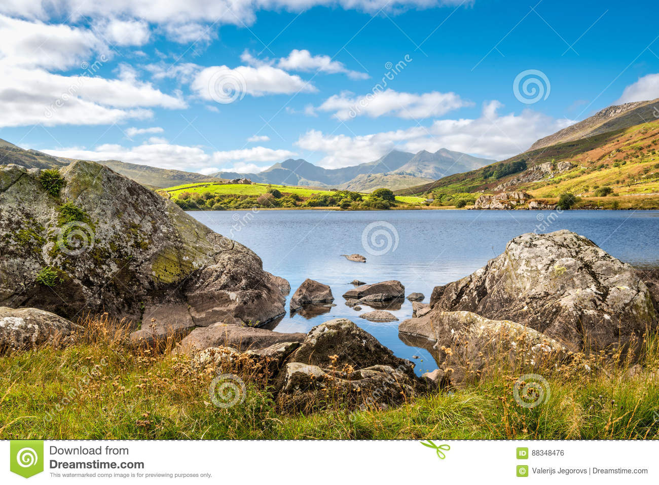 Lake Llynnau Mymbyr in Snowdonia, North Wales