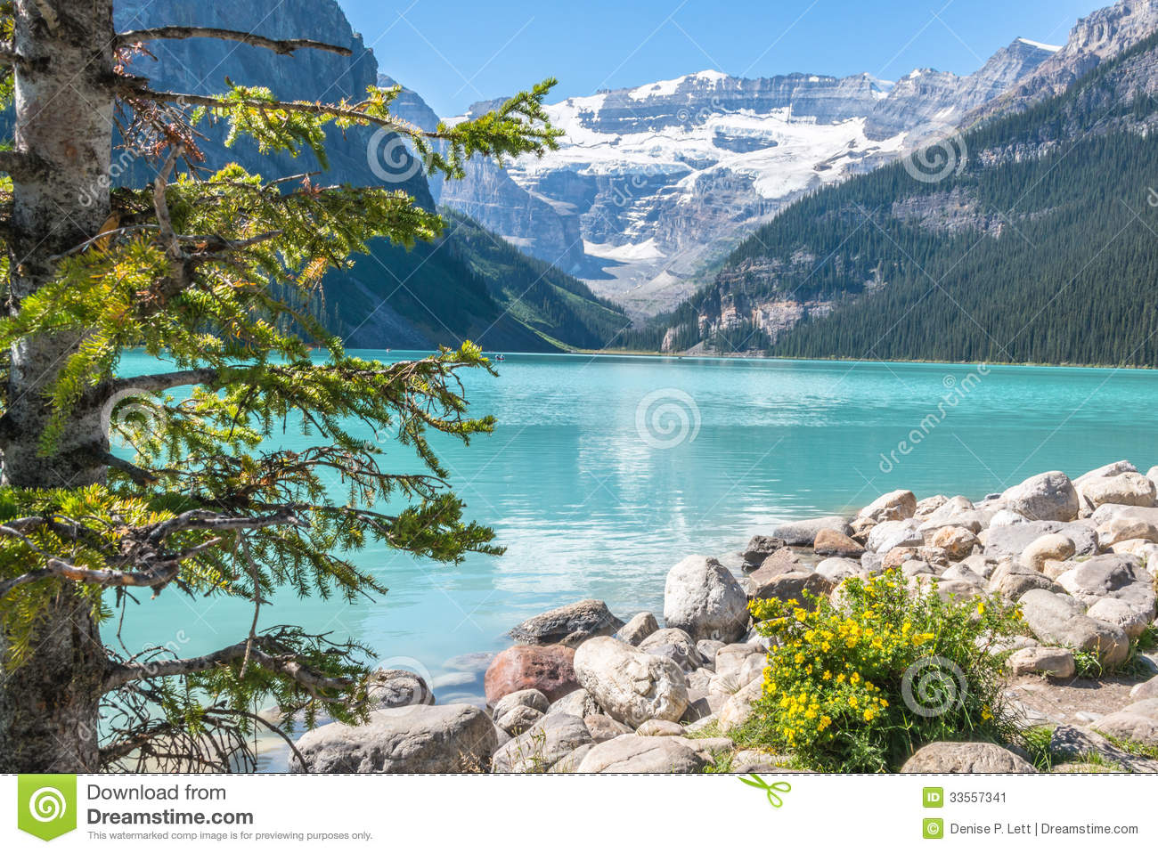 Lake louise and glacier stock image image 33557341 for Landscaping rocks victoria bc