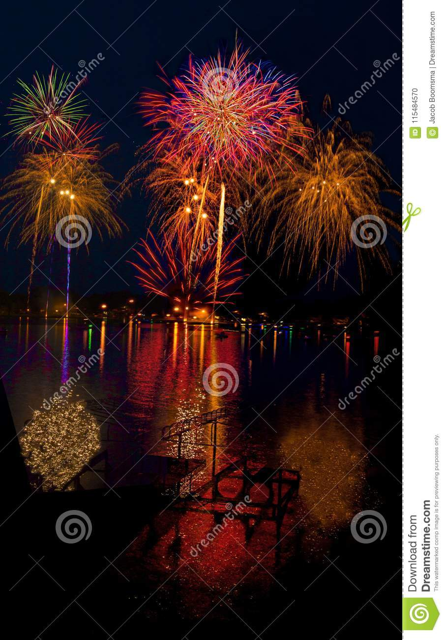 Lake Madison and the City of Madison, South Dakota celebrate the 4th of July with Fireworks