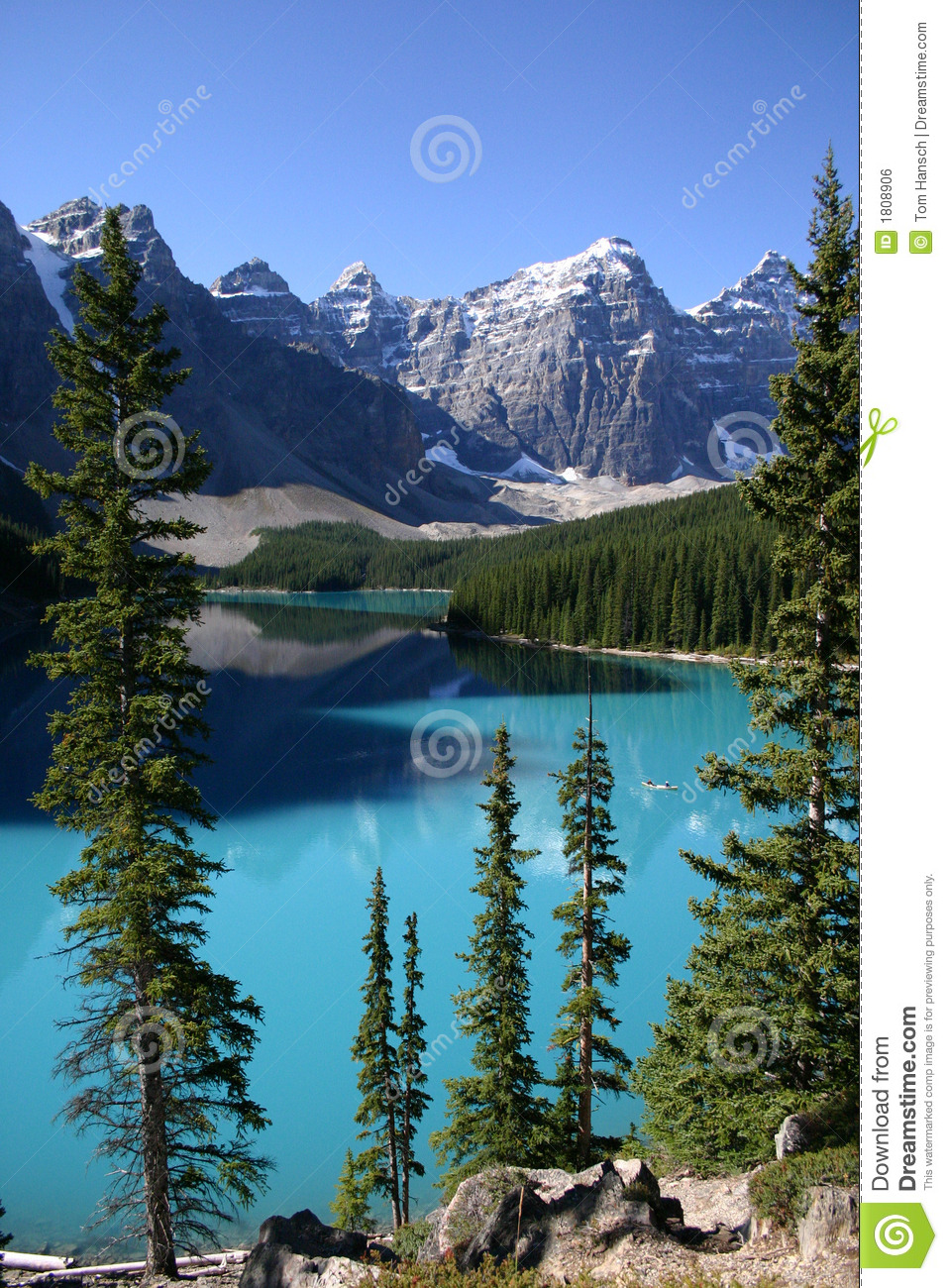 Lake Moraine Canoeing Stock Photo Image Of Mountain Lake