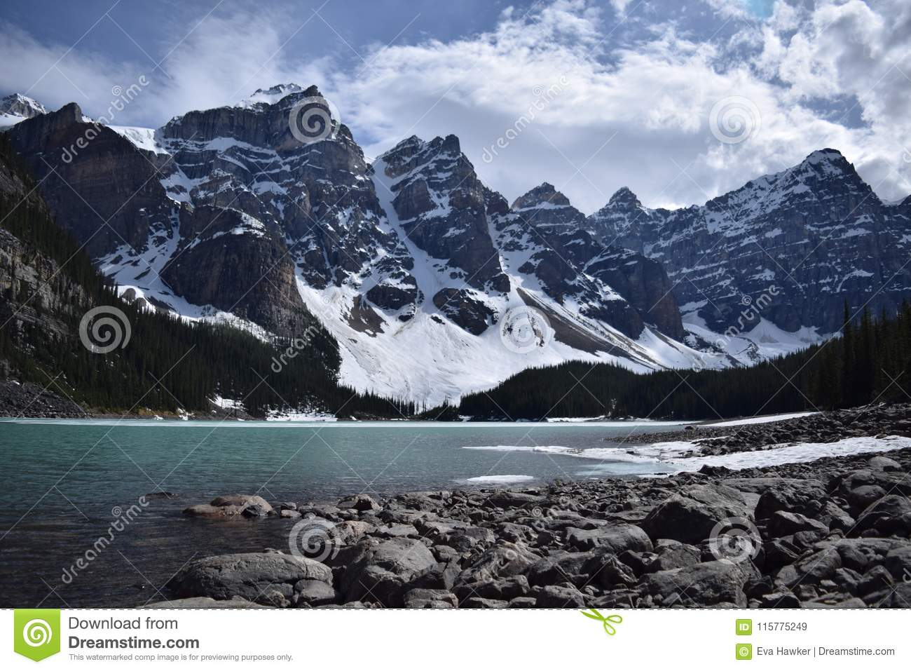 Lake Moraine And The Valley Of The Ten Peaks Stock Image