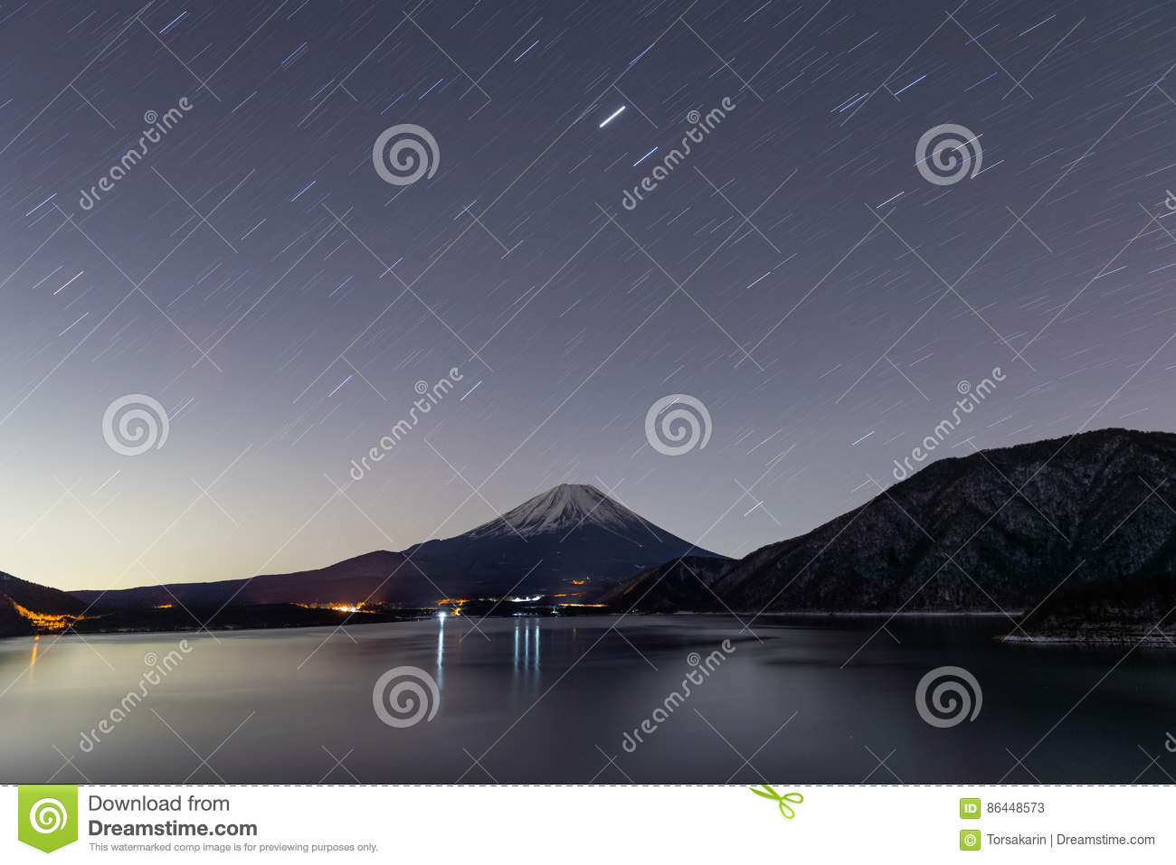Lake Motosu and mt.Fuji at night time