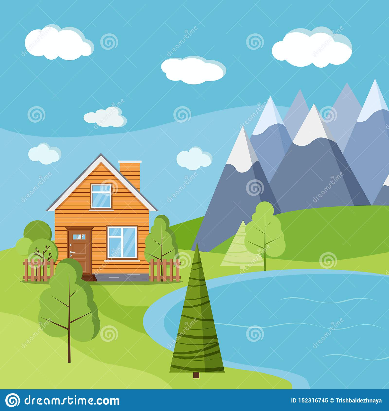 Lake and mountains landscape scene with wooden rural farm house with chimney