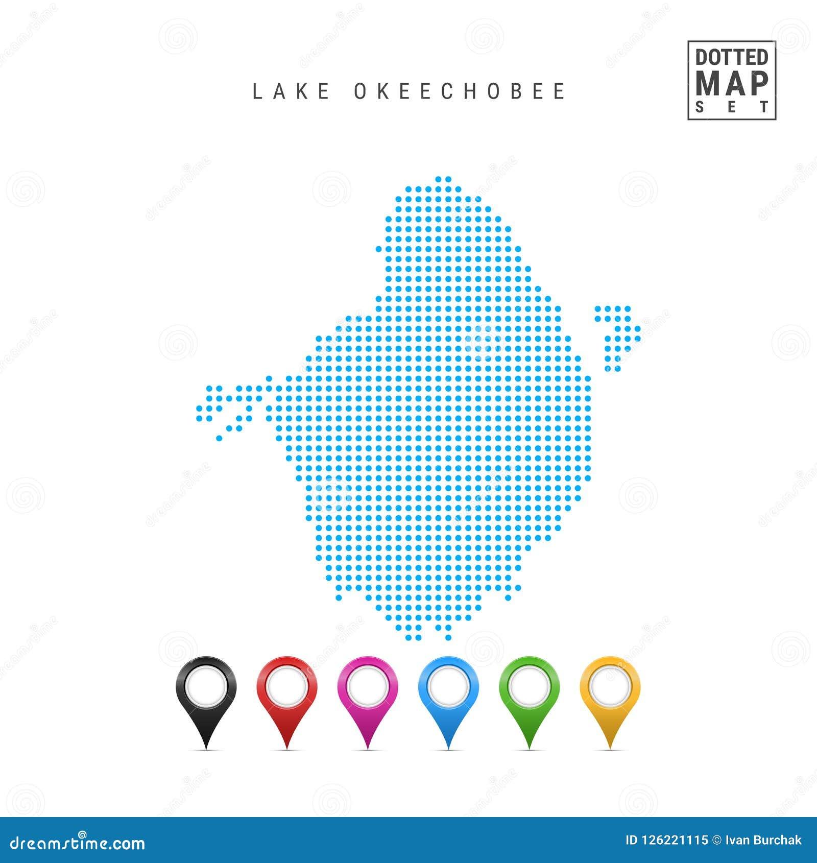 Lake Okeechobee Florida Dots Pattern Vector Map Stylized
