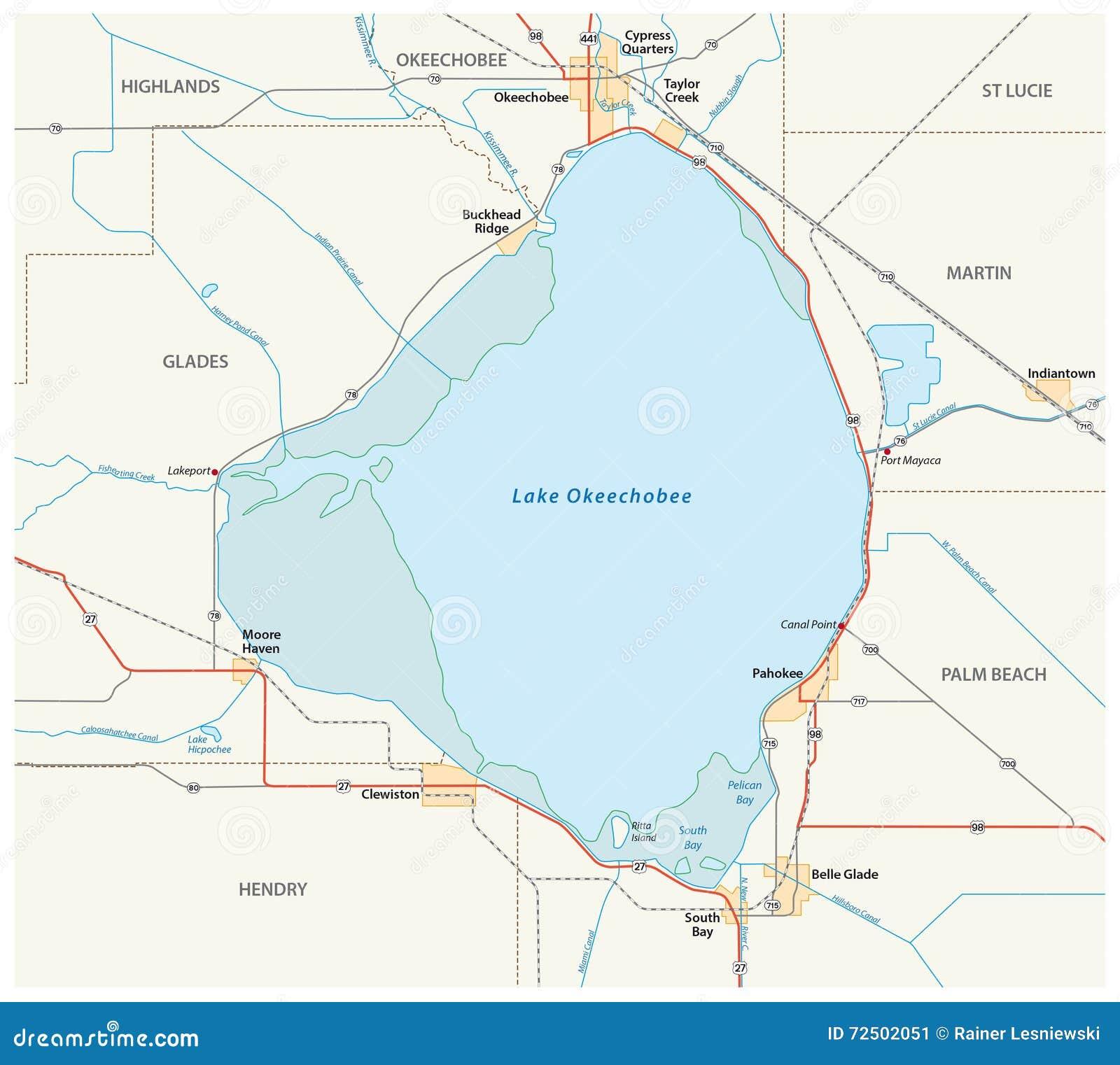 Lake Okeechobee Map Stock Illustration Illustration Of Glades
