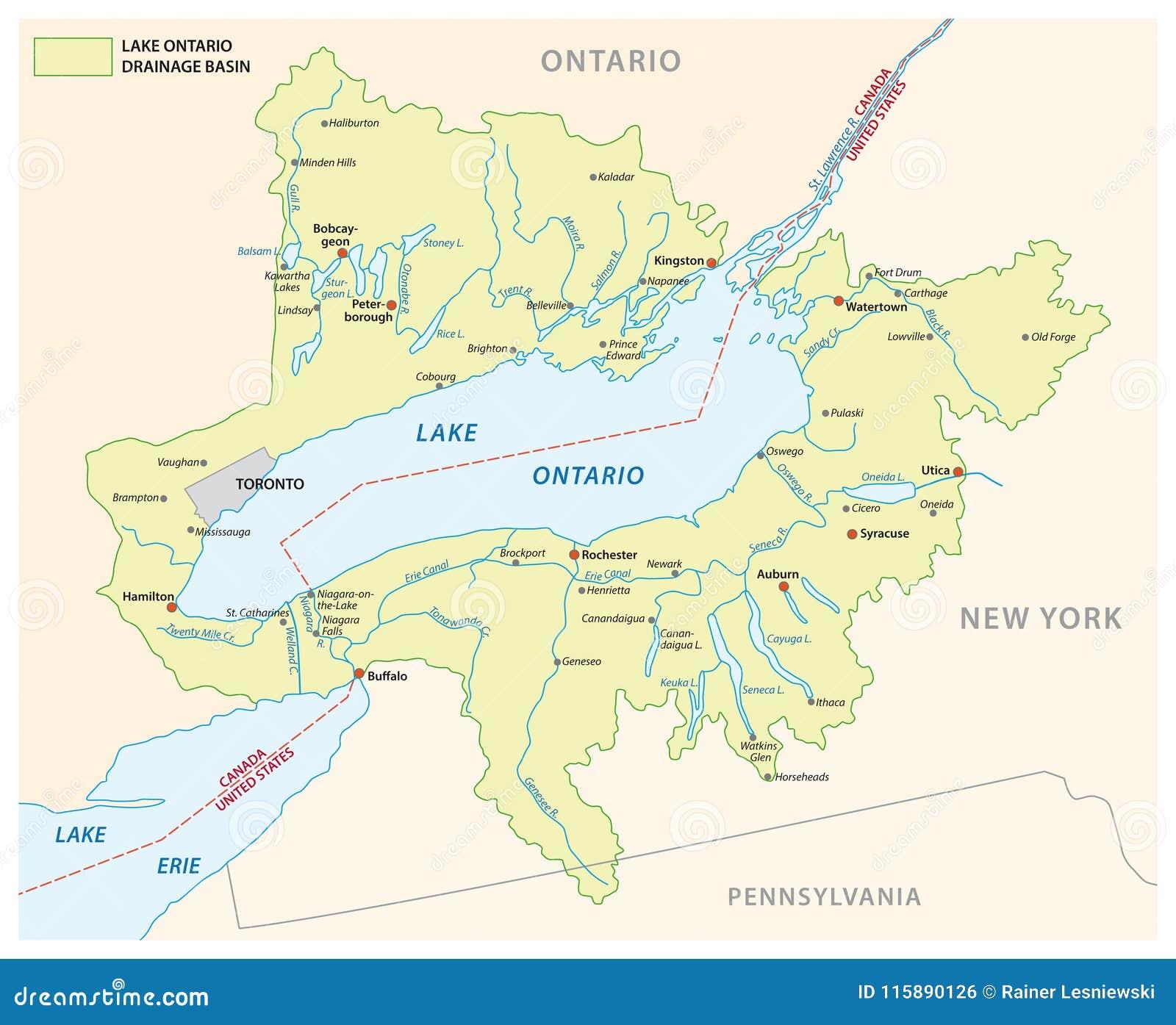 on map of lake ontario
