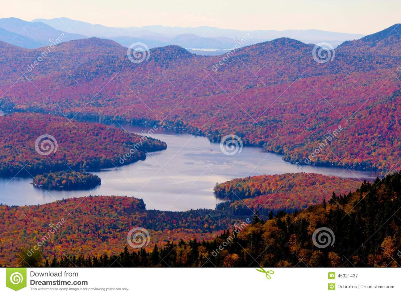 ... Placid and fall foliage from the top of Little White Face Mountain