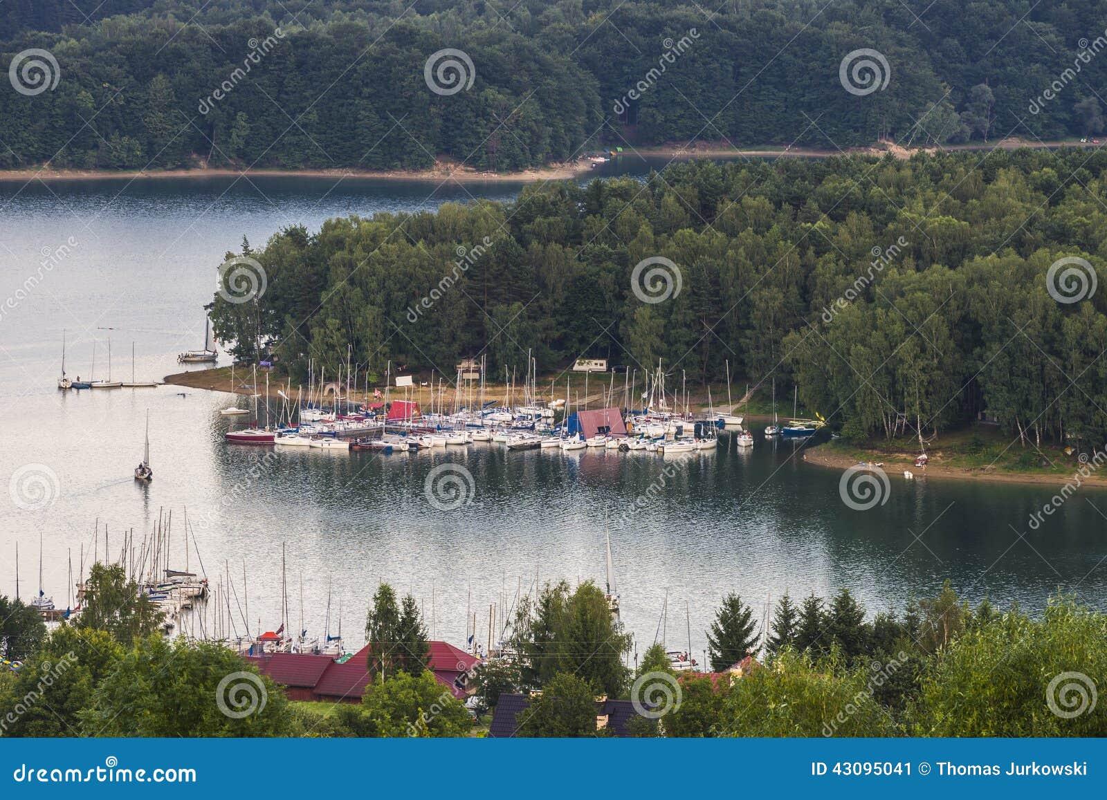 Lake and sailing boats.