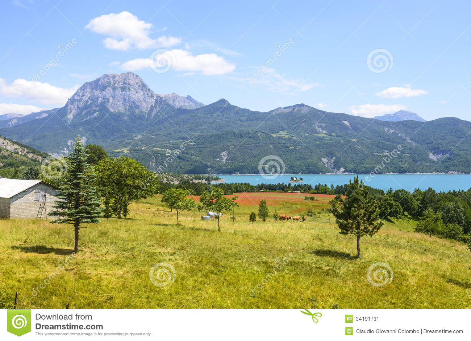 lake of serre poncon french alps stock image image. Black Bedroom Furniture Sets. Home Design Ideas