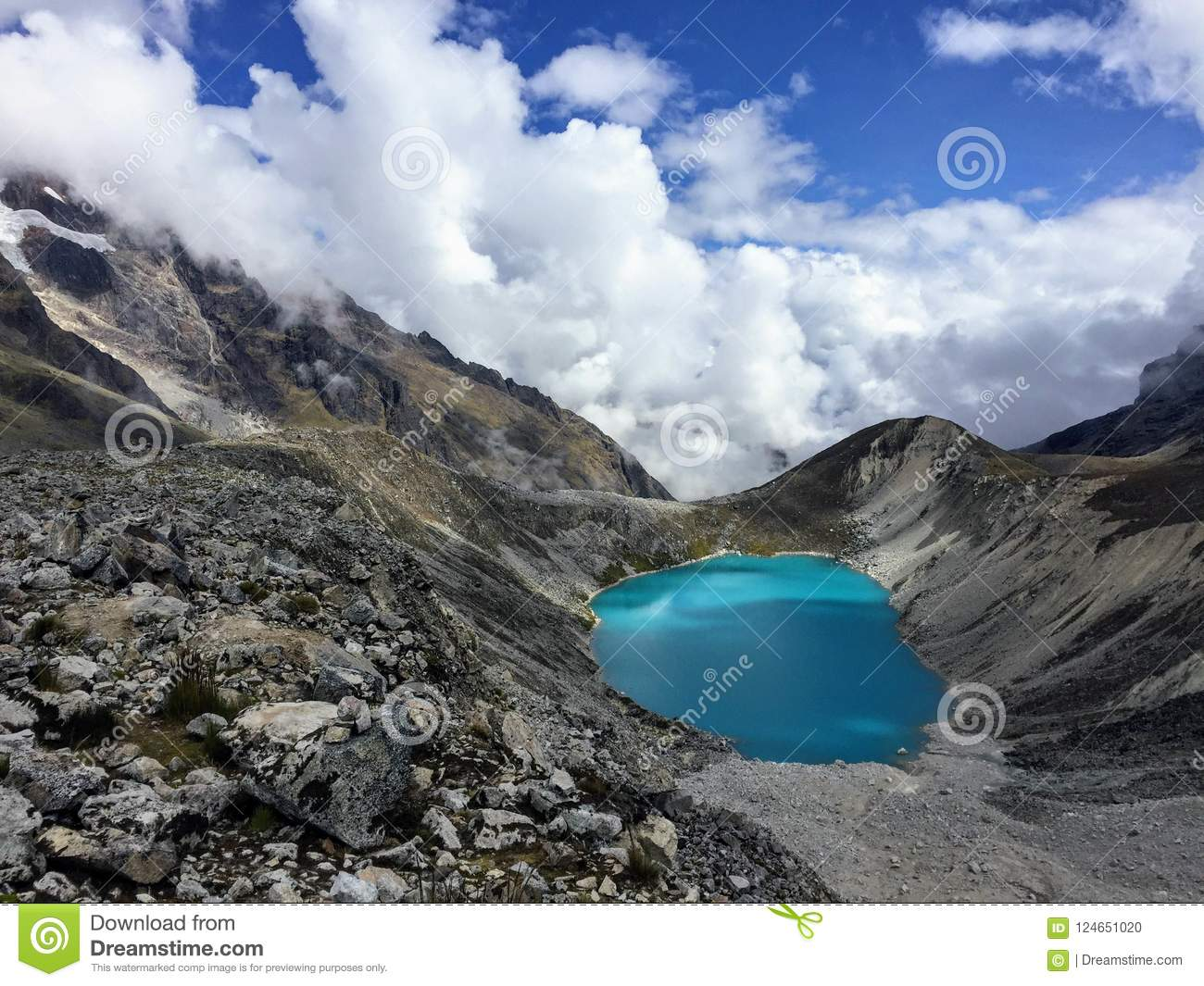 Lake in the sky during hike through the Andes mountains