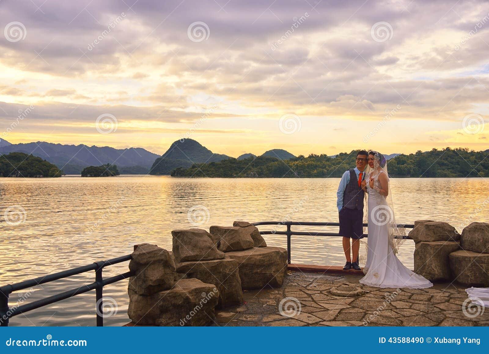 Lake Sunset and  wedding couple