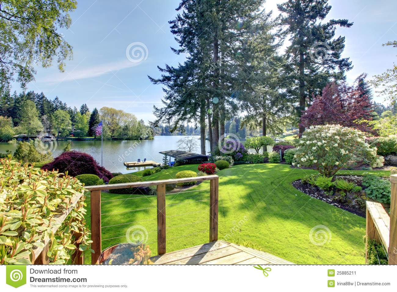 Lake View Backyard With Deck And Spring Landscape Stock