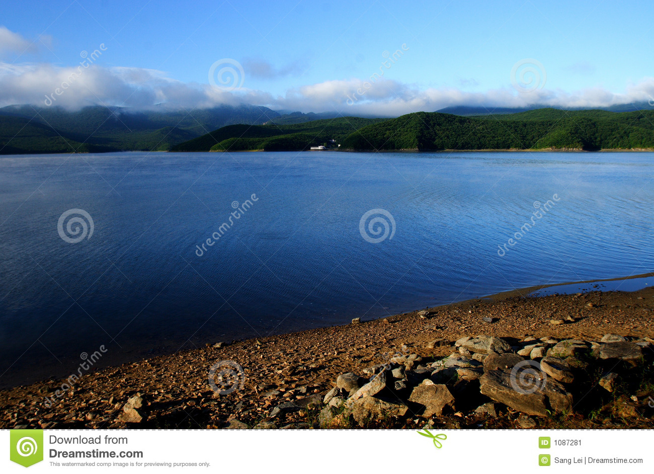 Download Lakes stock image. Image of water, white, clouds, bank - 1087281