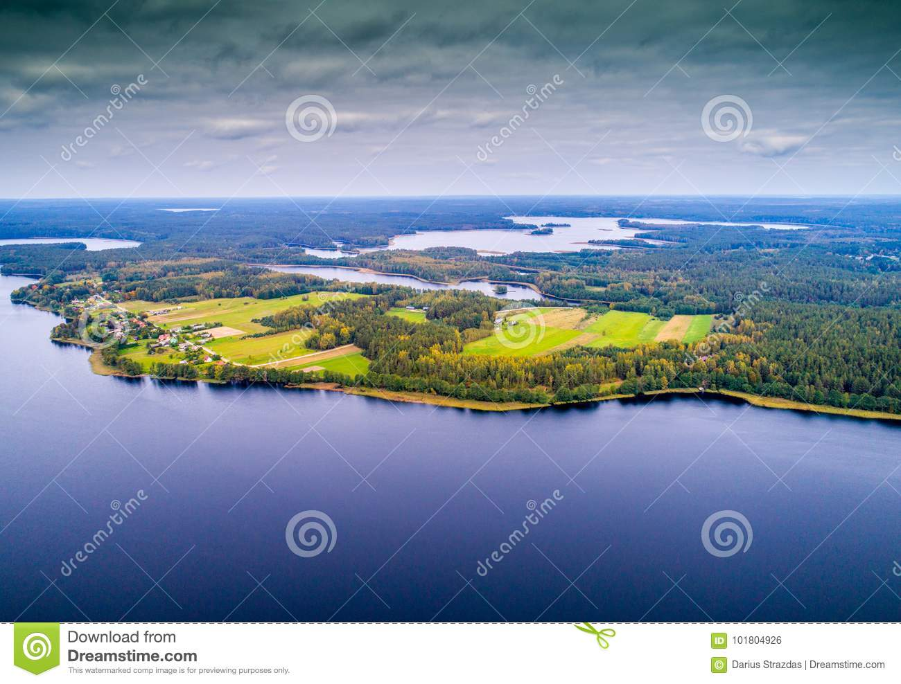 Lakes from above, bird`s flight