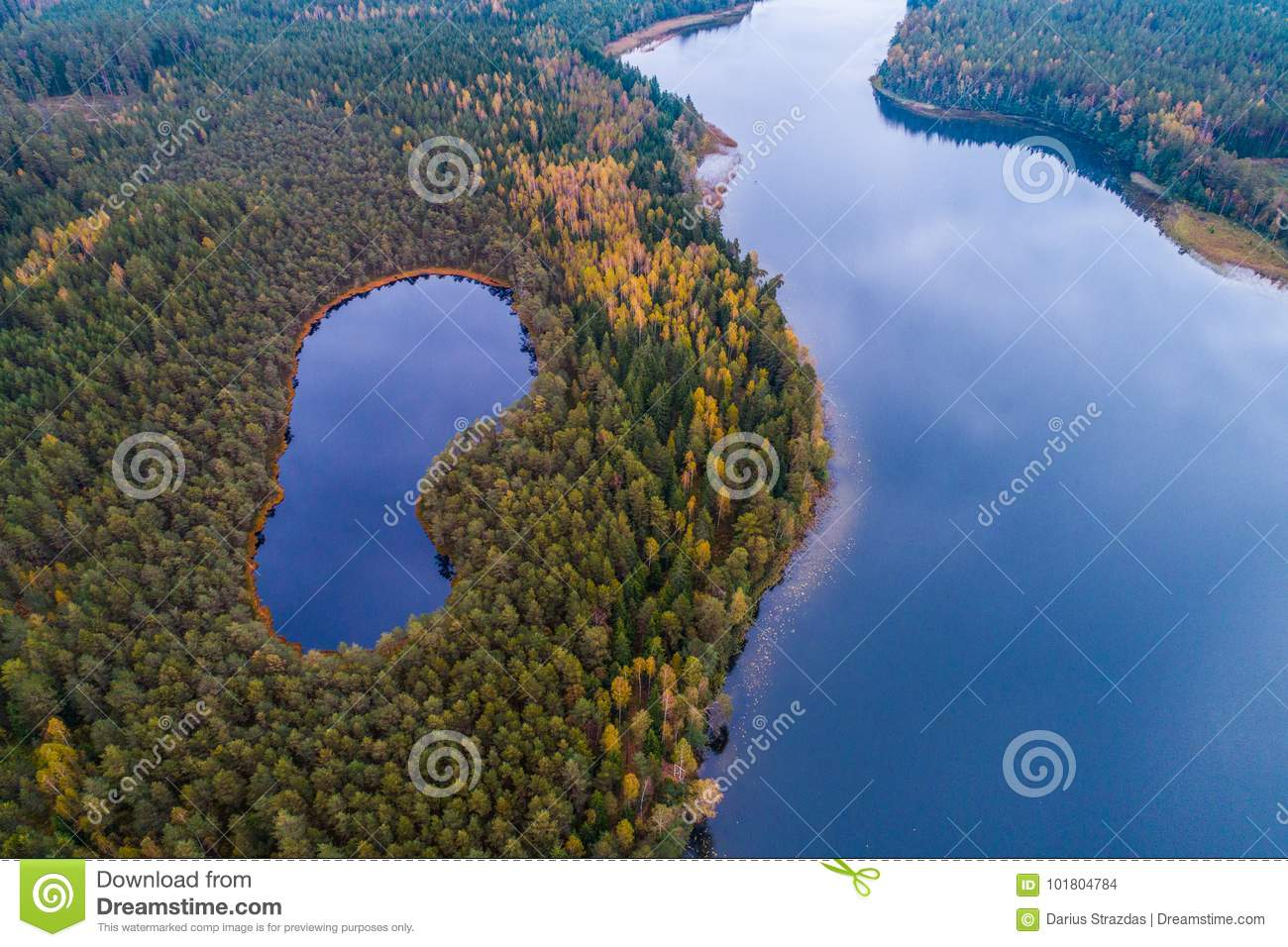 Aerial lake photography