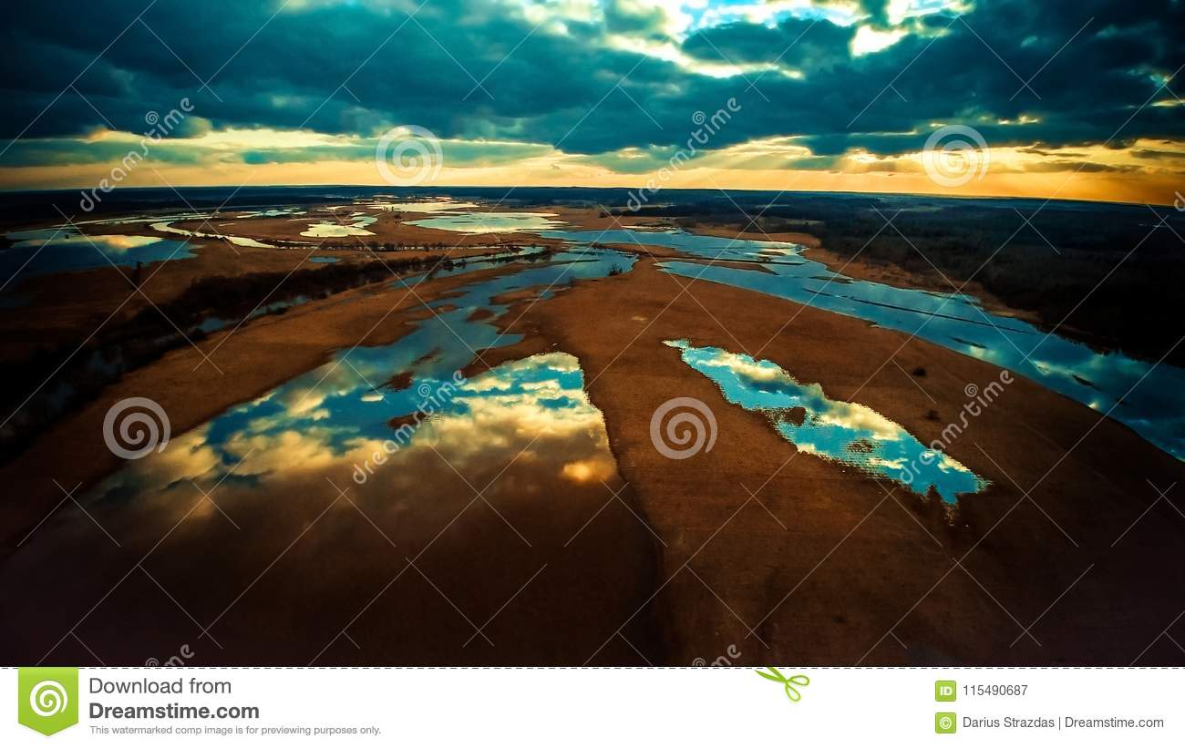 Lakes scenic landscape, aerial photo