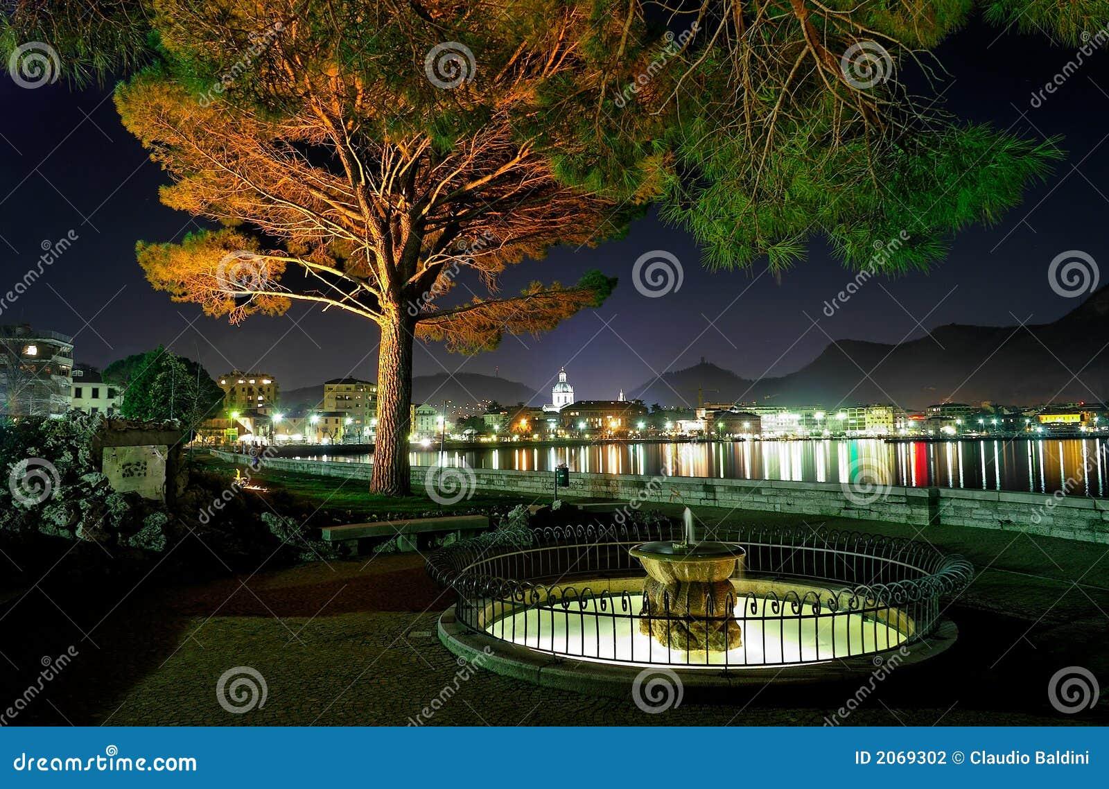 Lakeside city at nigh