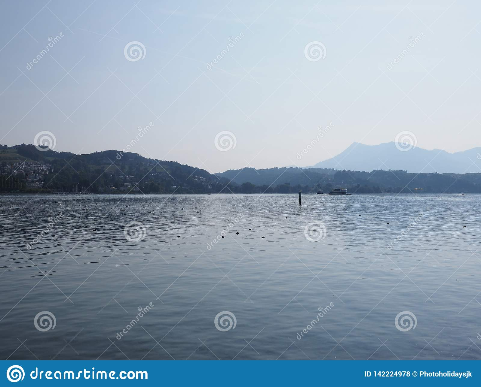Lakeside view in european Lucerne city at lake landscape in Switzerland