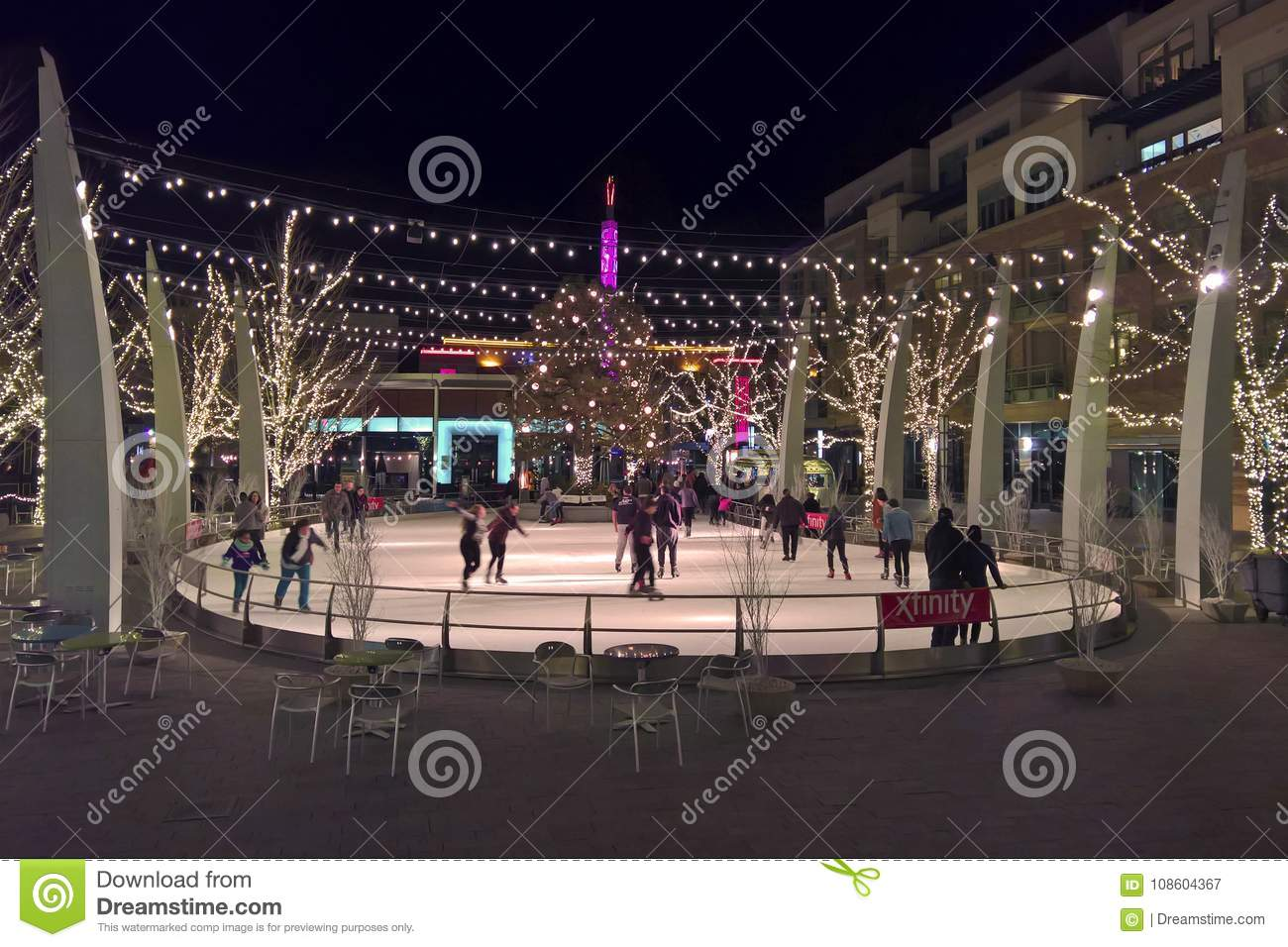 Backyard Ice Rink Lights outdoor ice skating rink at night editorial photography - image of