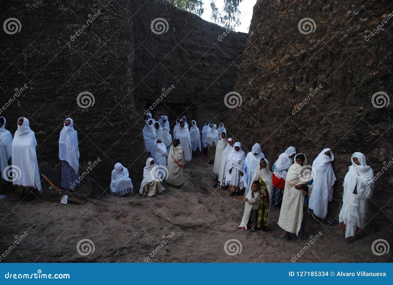 Lalibela, Wollo, Ethiopia: Pilgrims attending religious service