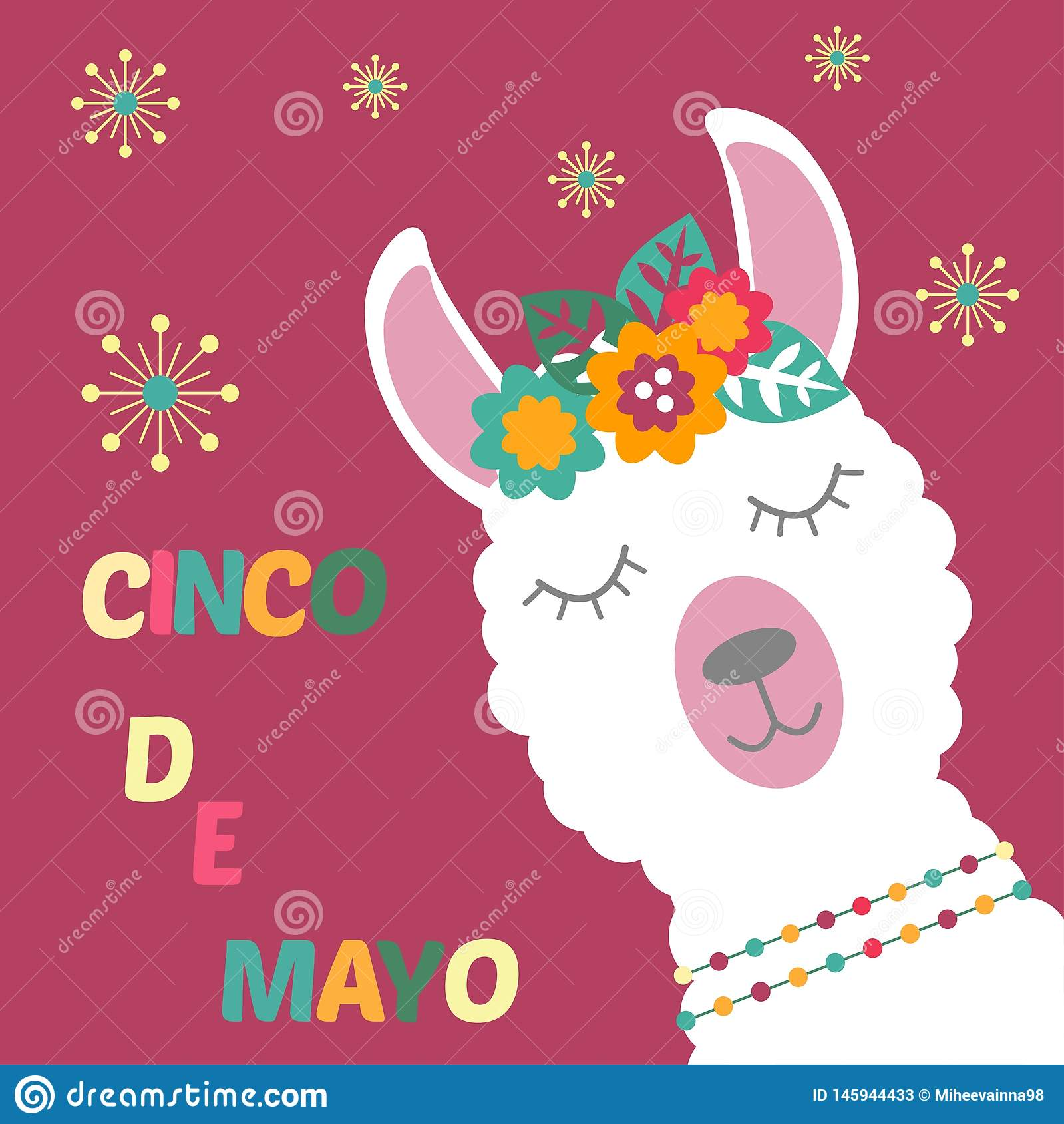 Lama op een kaart Cinco de Mayo