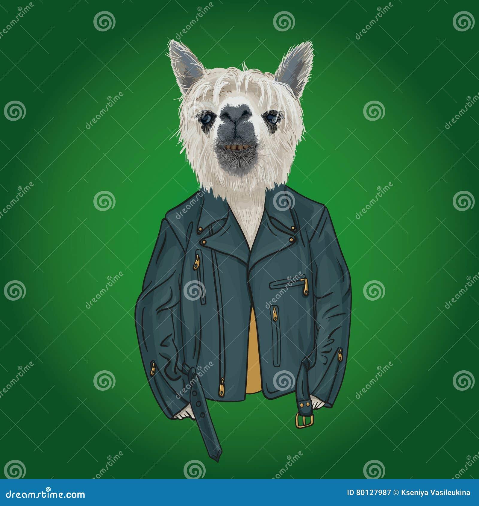 Lama teen wearing hoodie with print, furry art illustration,