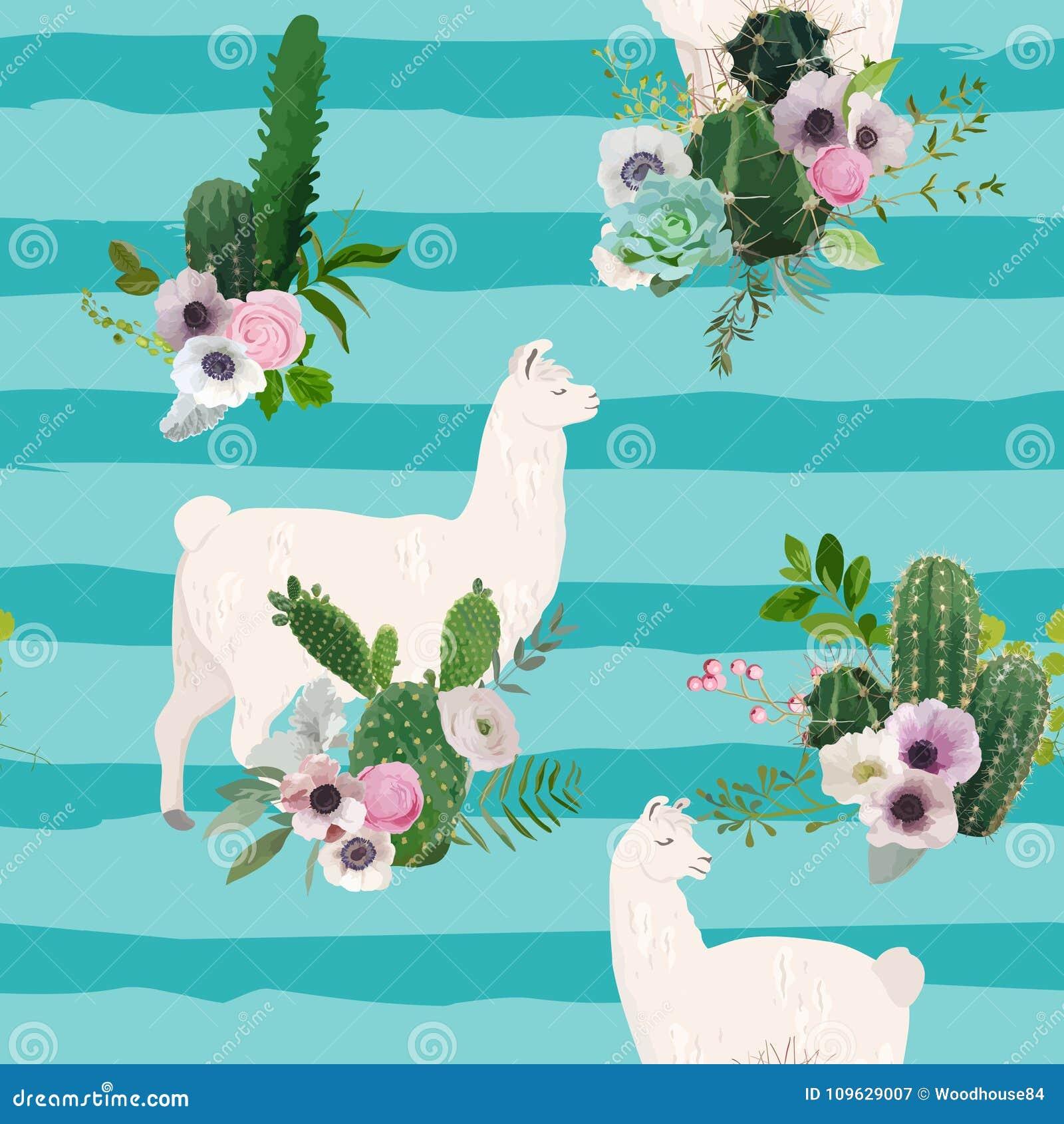 Lama-und Kaktus-nahtloses Muster Natur-Hintergrund Der Lama-wild ...