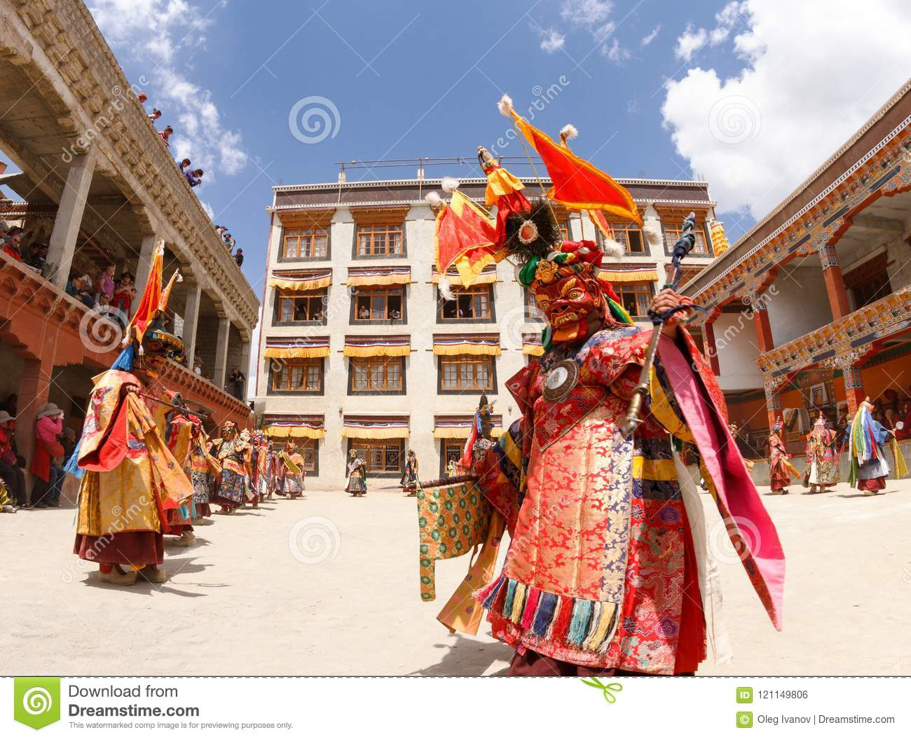 Monks perform a religious masked and costumed mystery dance of Tibetan Buddhism at the traditional Cham Dance Festival