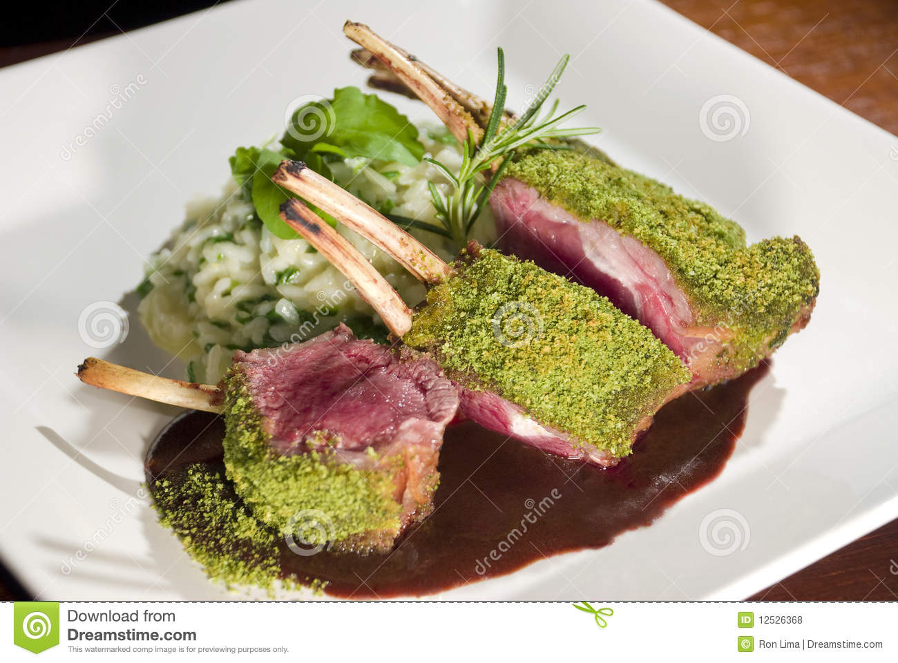 Grilled Lamb Chop in Herb Crust with arugula risotto and demi glace ...
