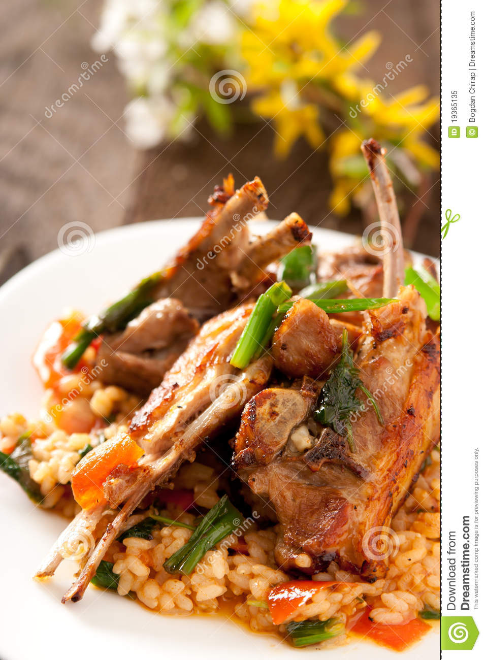 Lamb Chops With Spicy Rice Royalty Free Stock Photo - Image: 19365135