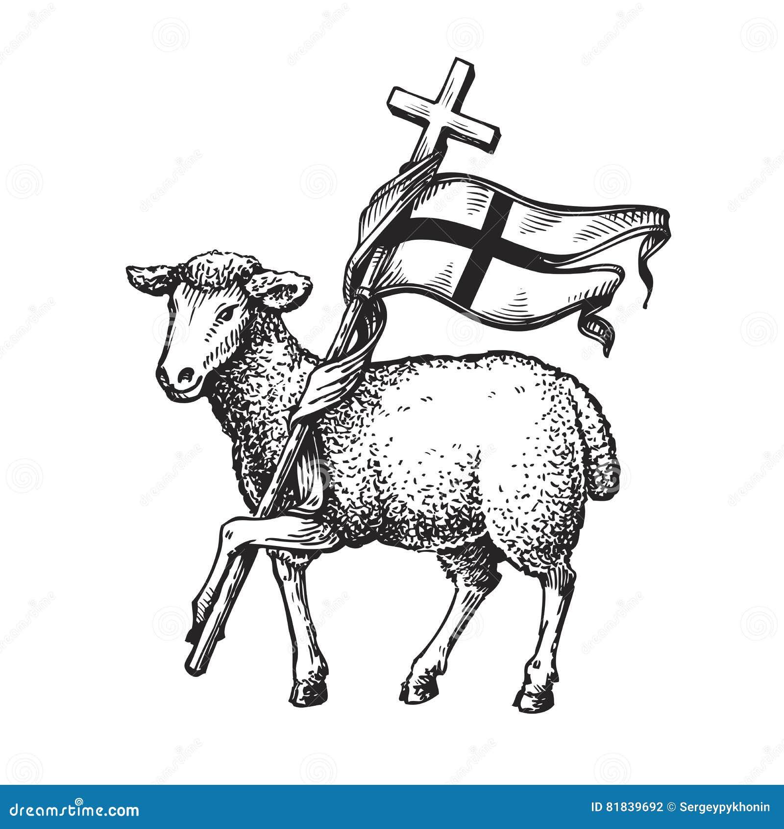 lamb with cross religion symbol sketch vector