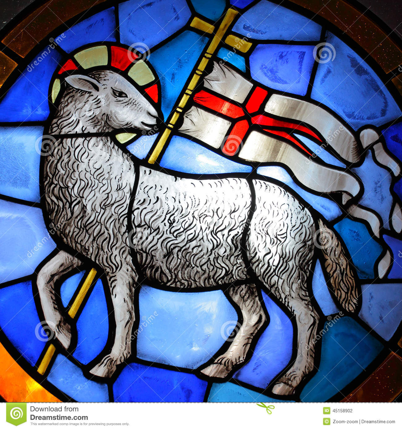 Lamb Of God Stained Glass In Cathedral Florence 18 Th Century