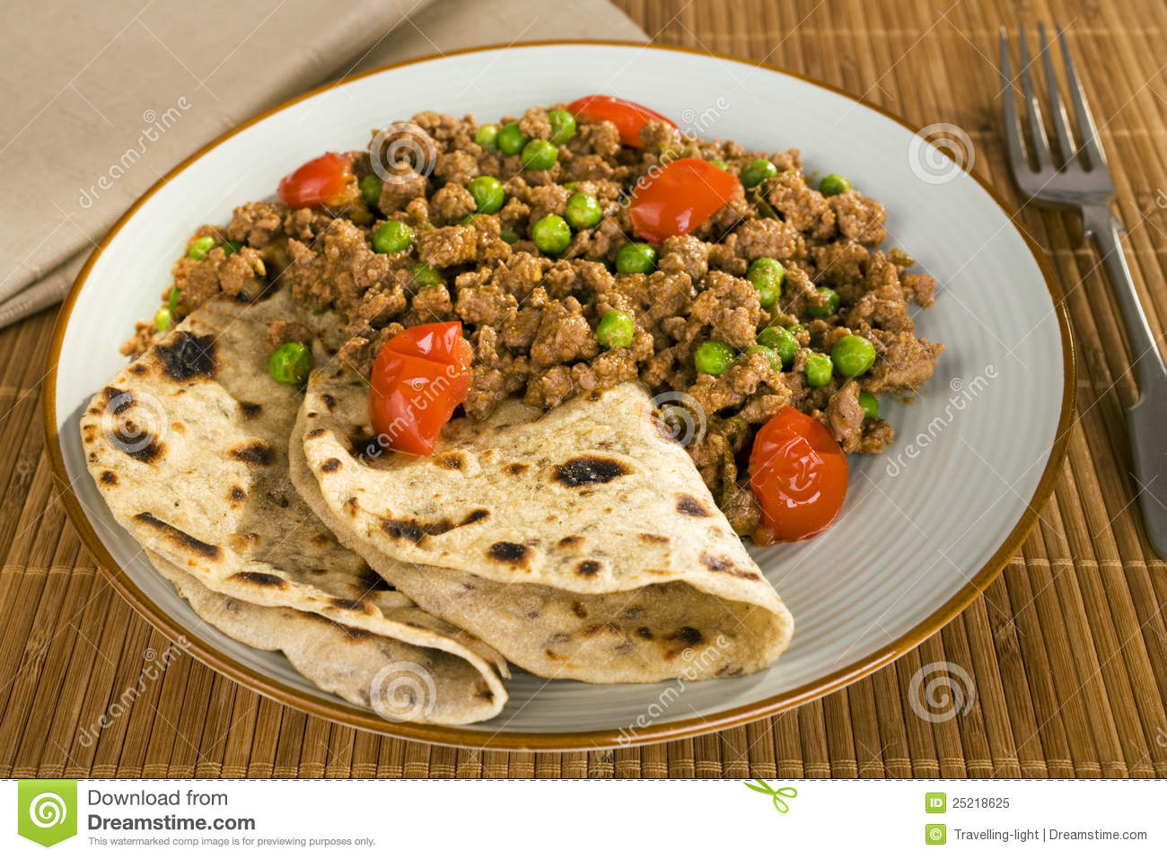 Lamb Keema Curry With Peas And Chapati Royalty Free Stock Photo ...