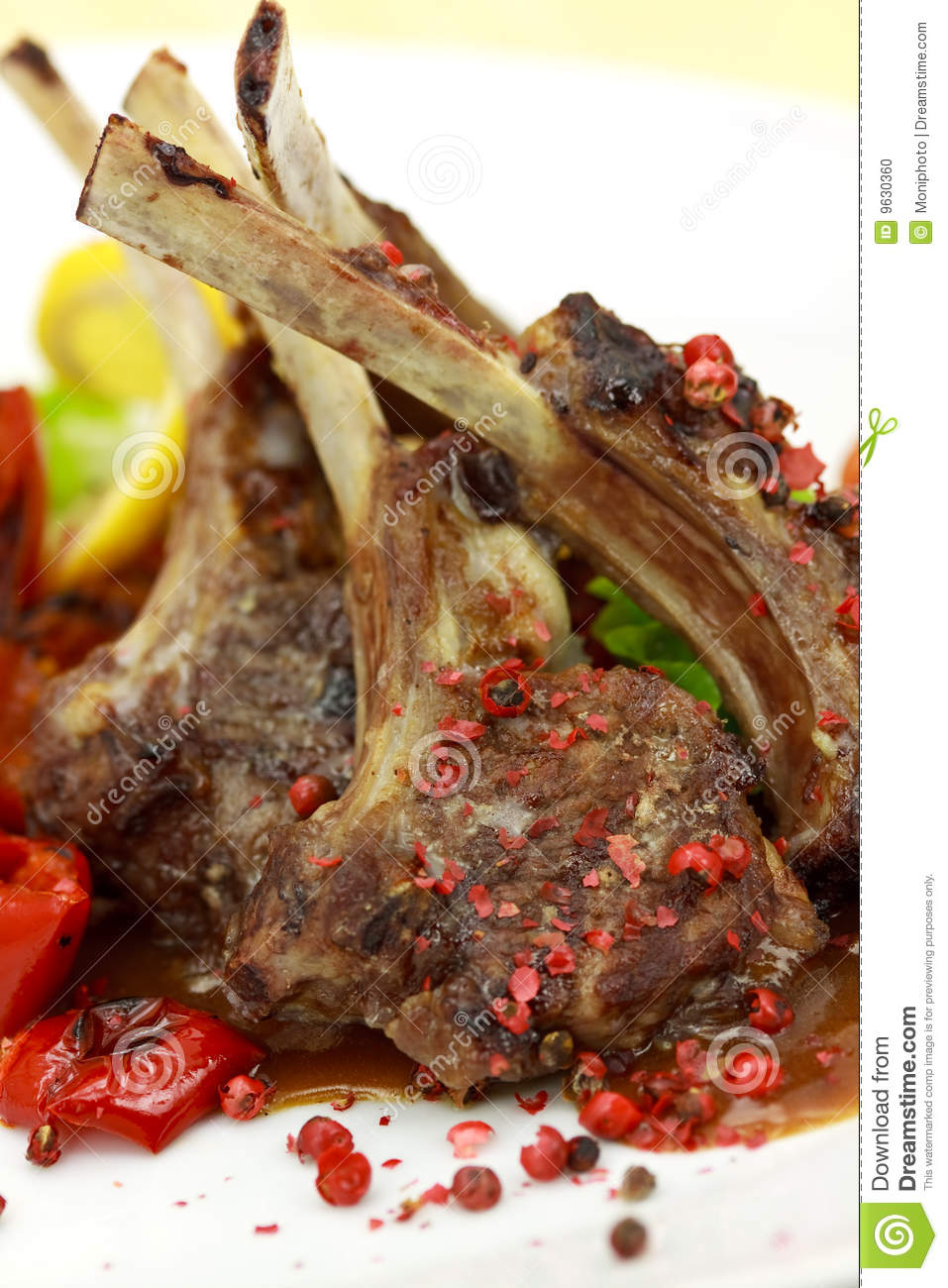 Lamb rack grilled with sauce peppercorn baked to stock photo 9630360 - Make lamb barbecue ...
