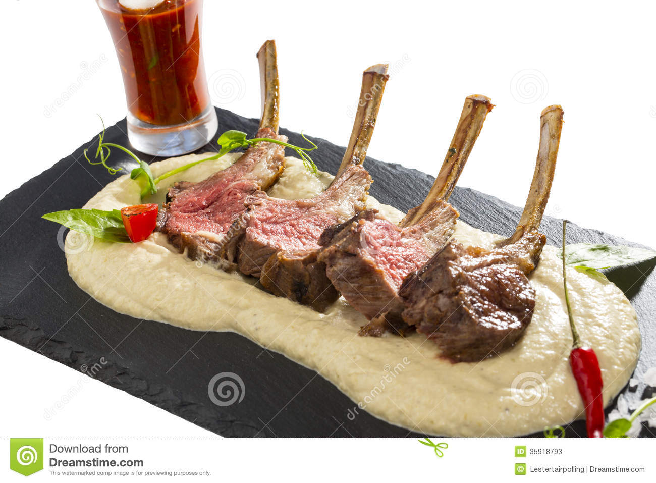 Lamb Ribs Cooked On The Grill Stock Photos Image 35918793
