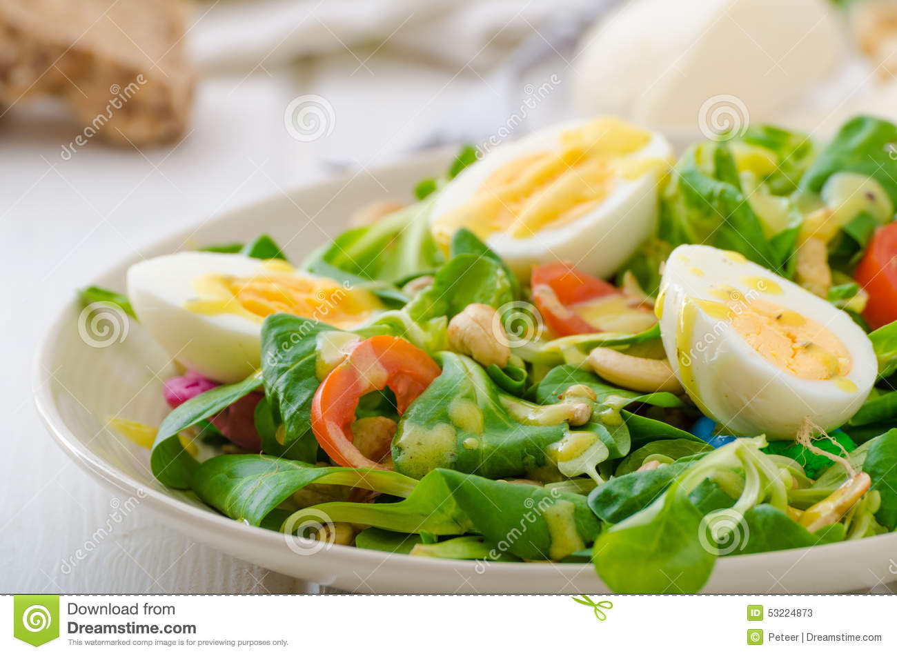 Lamb's Lettuce Salad With Eggs And Nuts Stock Photo - Image: 53224873