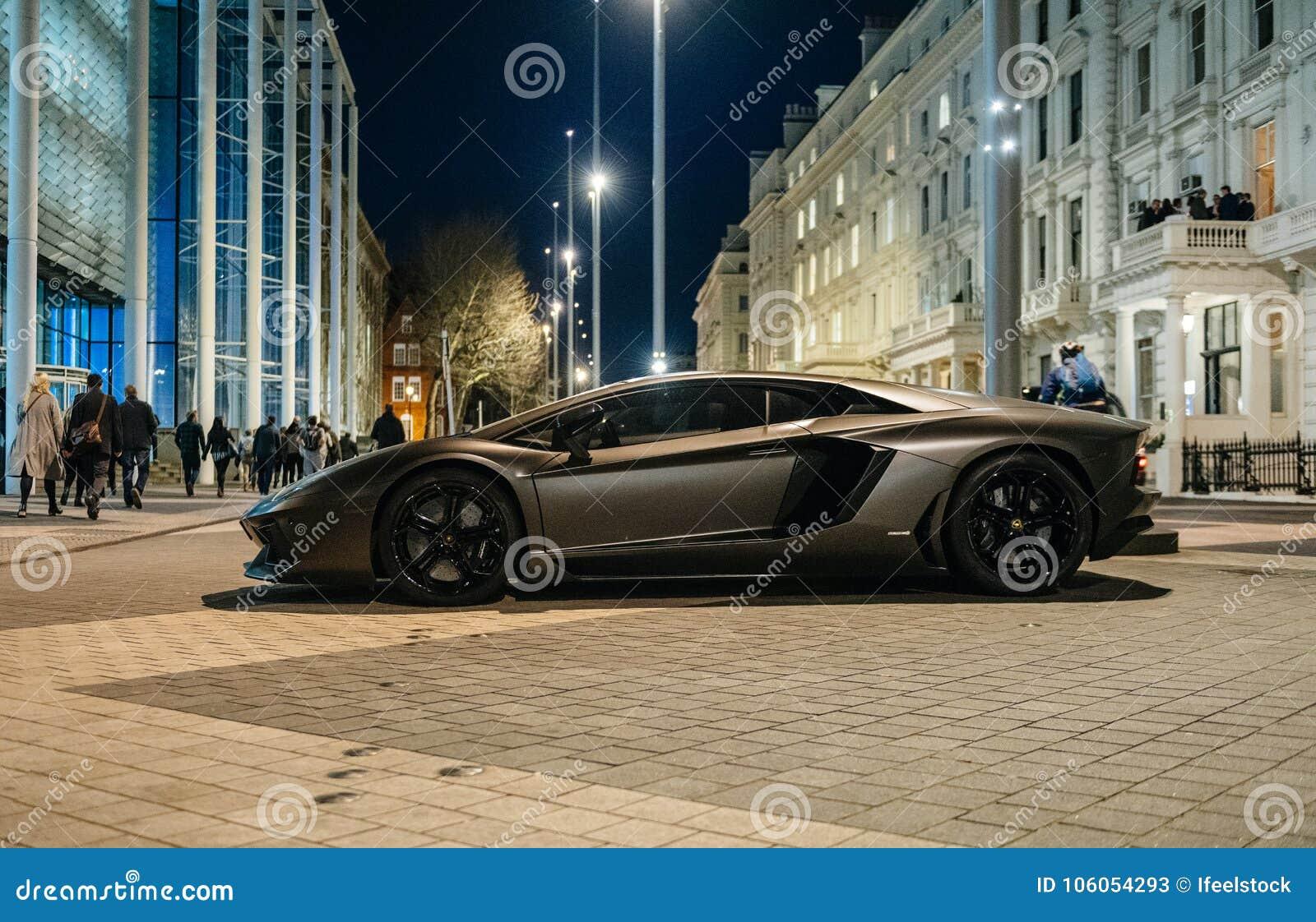 Lamborghini Aventador Luxury Sport Carbon Car Parked On Kensignton