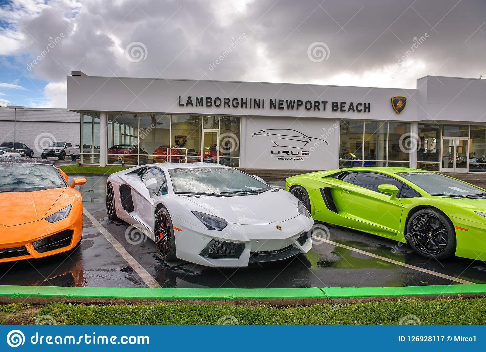 Lamborghini Cars Parked At The Factory Authorized Dealership In