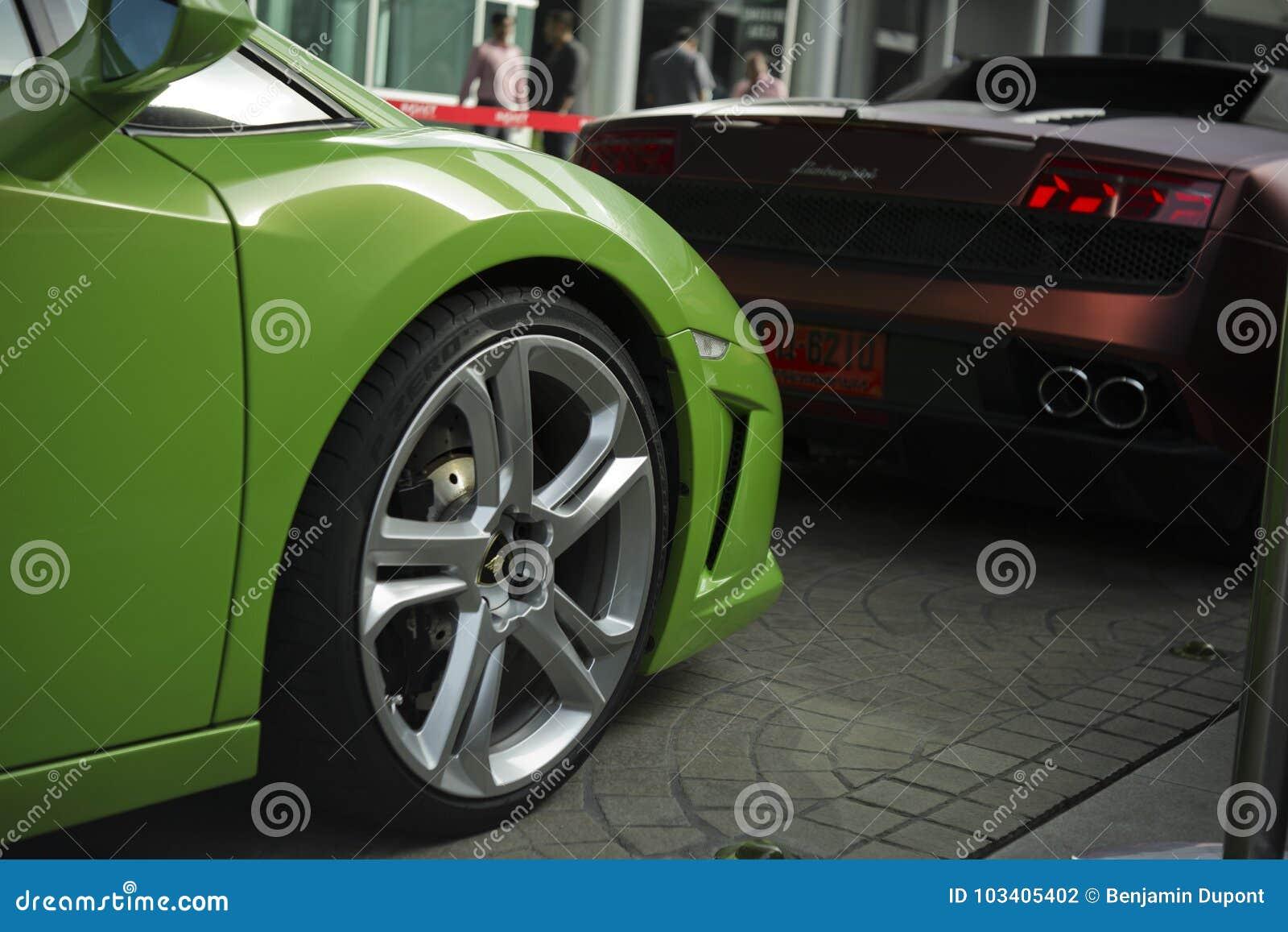 Lamborghini Gallardo Coupe Front Close Up And Rear View Editorial