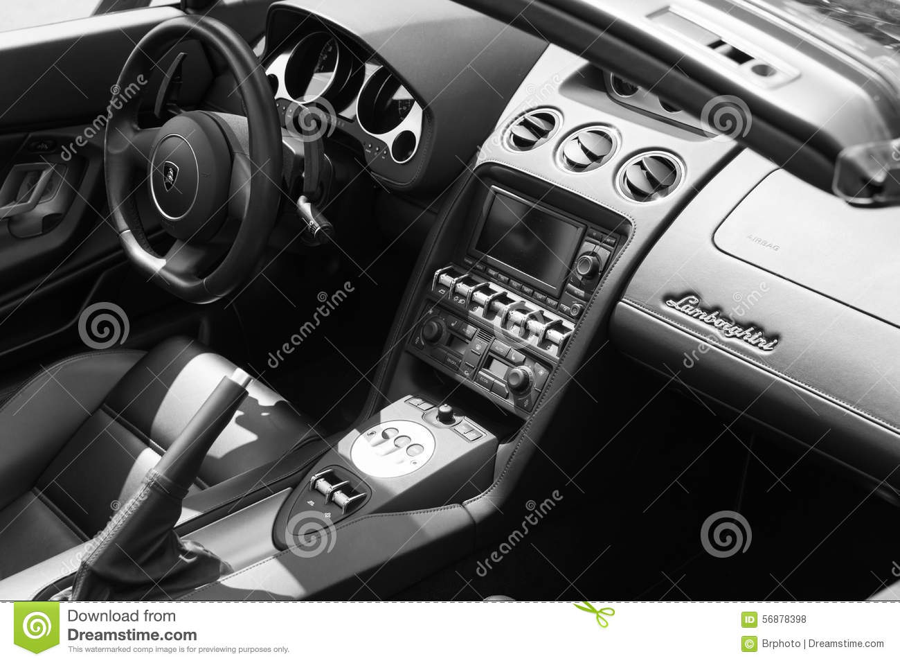 lamborghini interior car on display editorial stock photo image 56878398. Black Bedroom Furniture Sets. Home Design Ideas