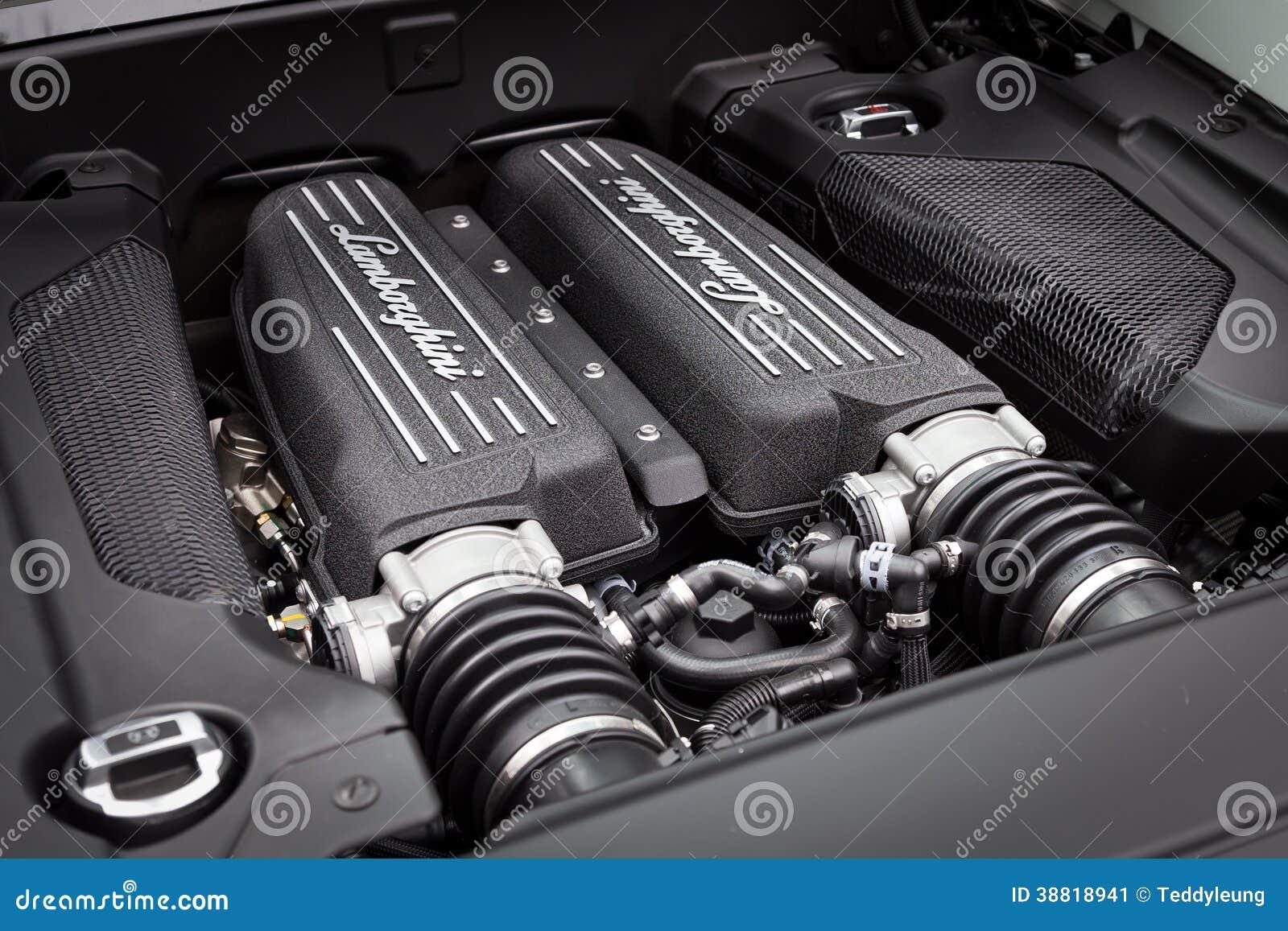 Lamborghini Lp560 4 Super Car Engine Editorial Photo