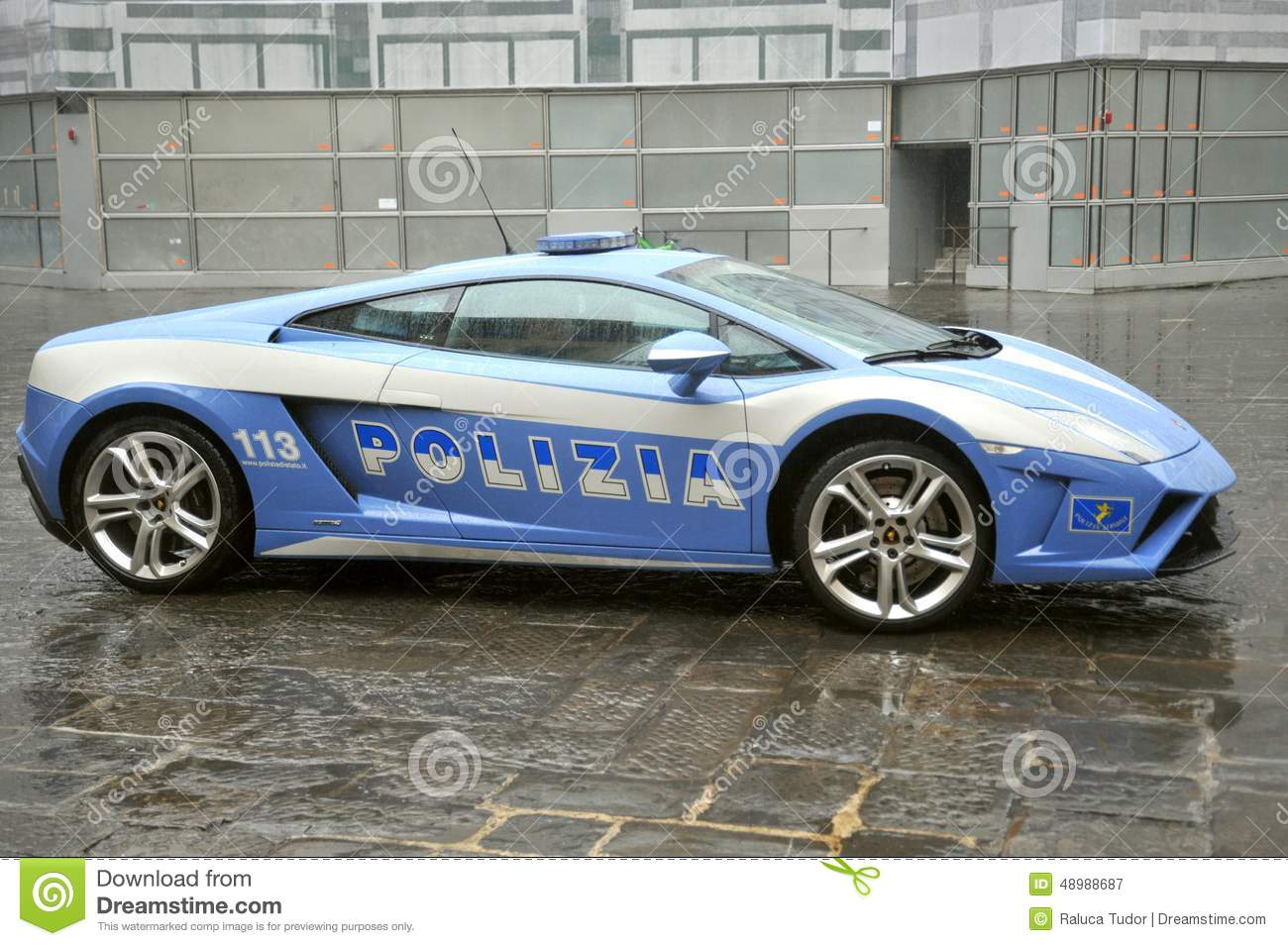 Lamborghini Luxury Police Car In Florence Italy Editorial