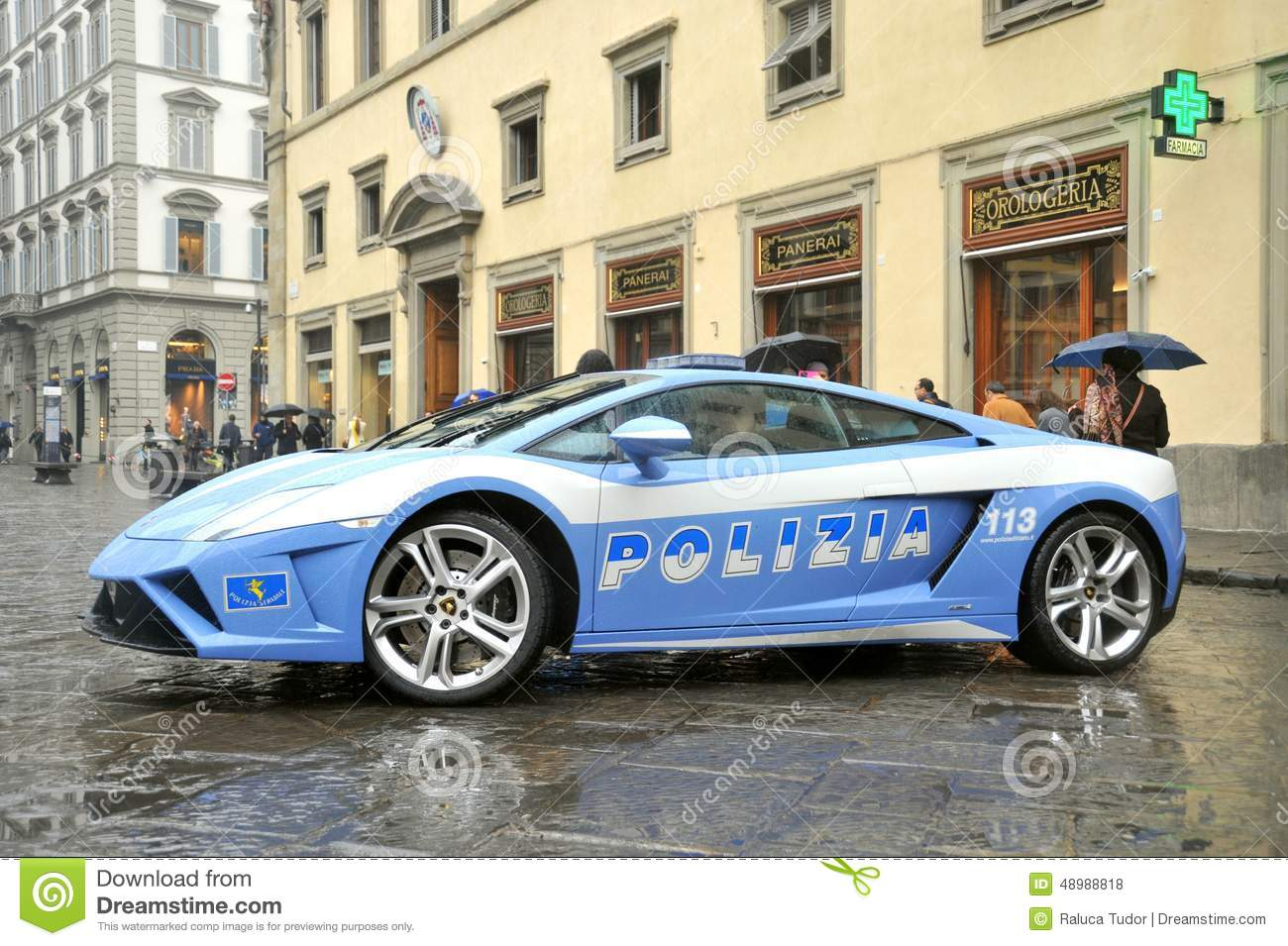 Lamborghini Luxury Police Car In Florence Italy Editorial Stock