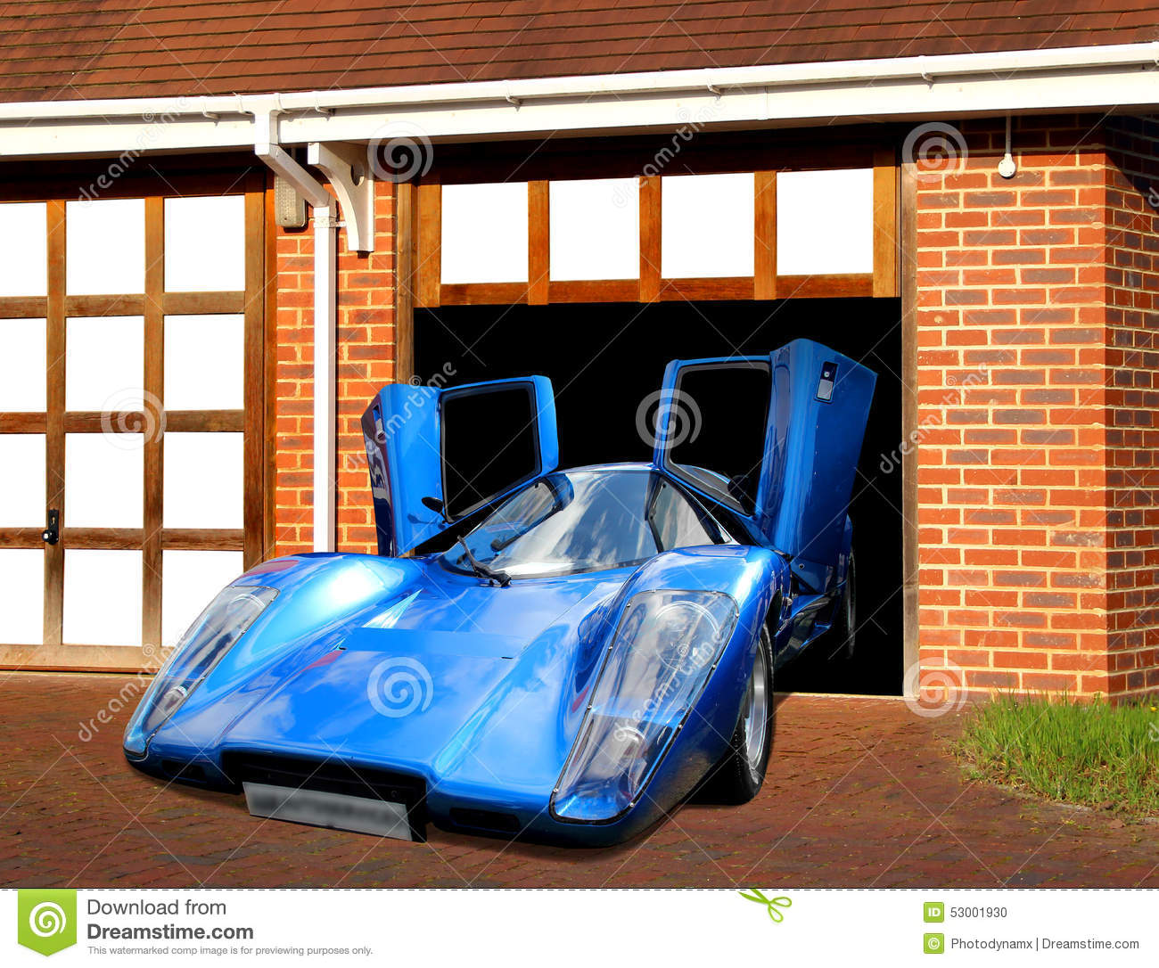 Lamborghini Super Car In Garage Stock Illustration Image