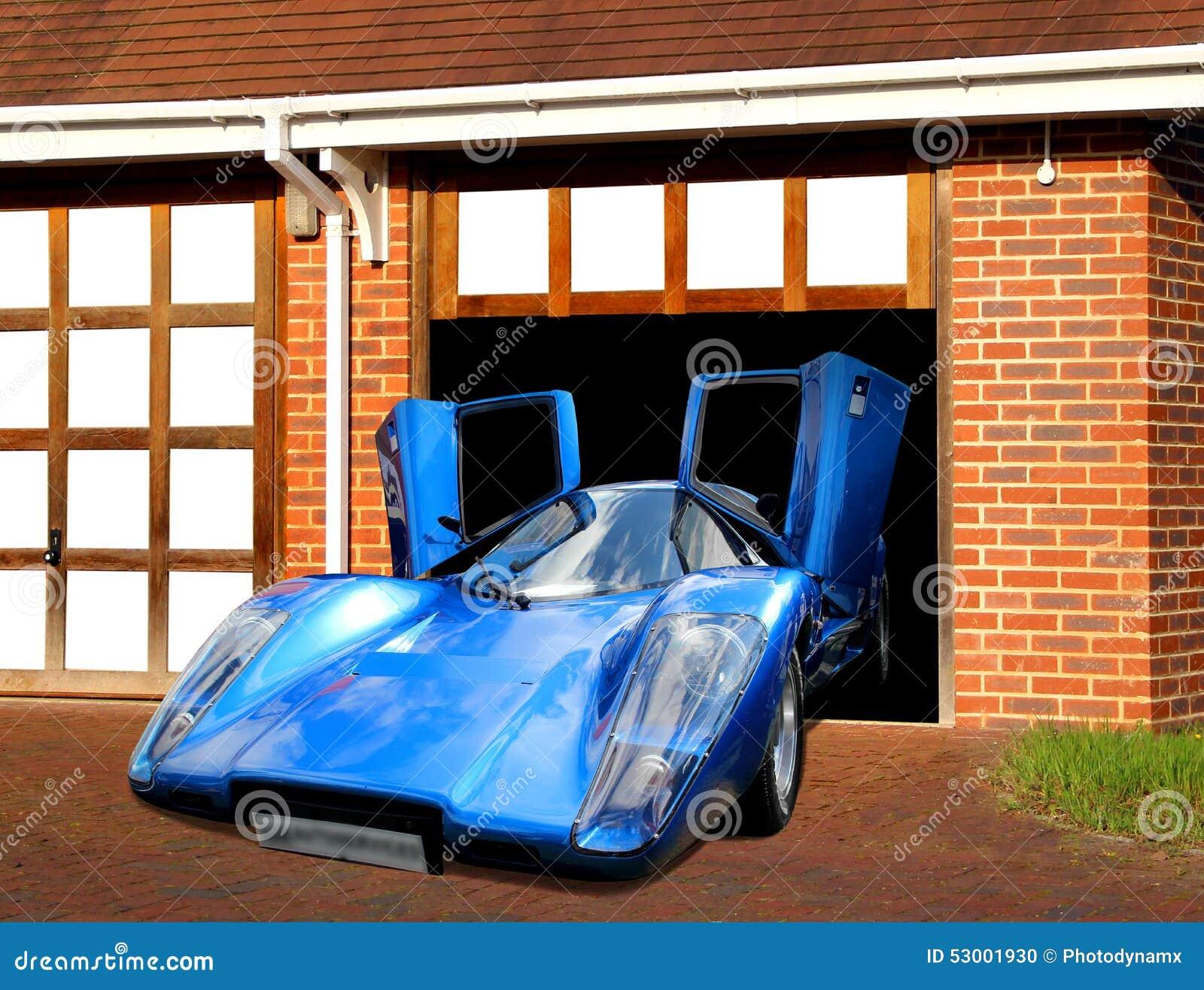 Lamborghini Super Car In Garage Stock Illustration