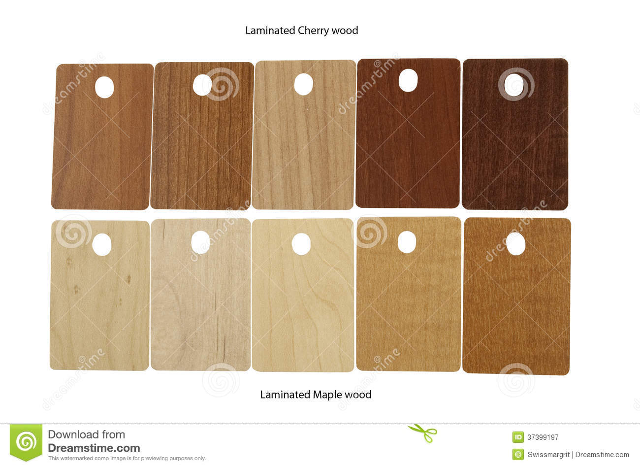 Laminated Samples Of Cherry Wood And Maple Wood Stock