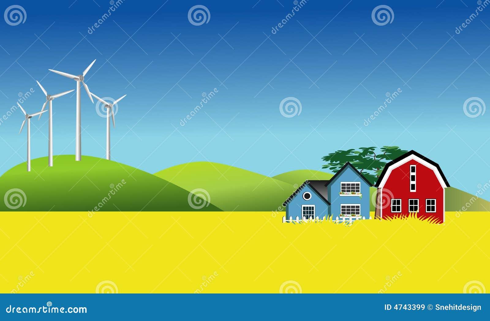 Laminatoi di vento e campo di Canola