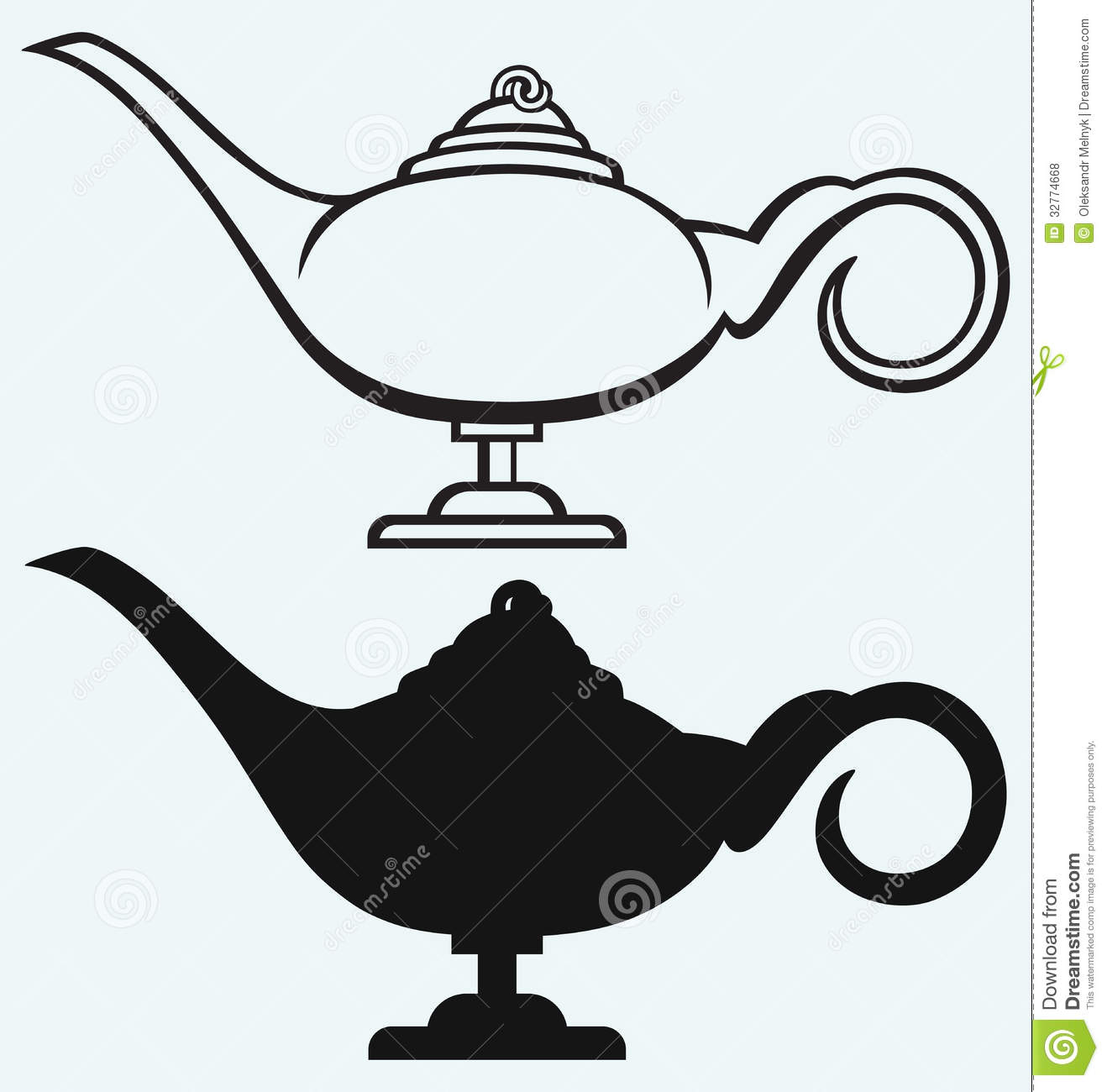Lamp Aladdin stock vector. Illustration of concept, east - 32774668 for Aladdin Genie Clipart  49jwn