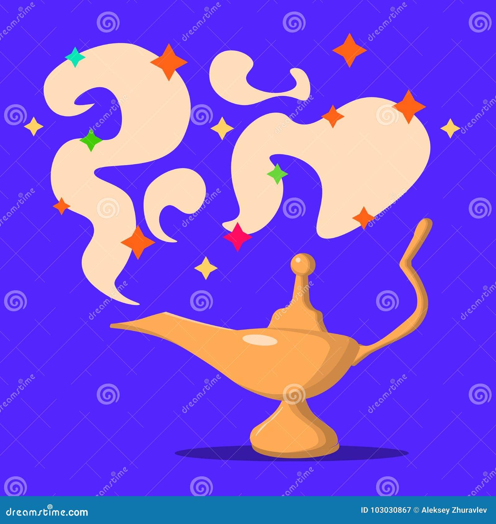 Lamp Aladdin with gin, the magic lamp of Aladdin. Flat design, vector illustration.